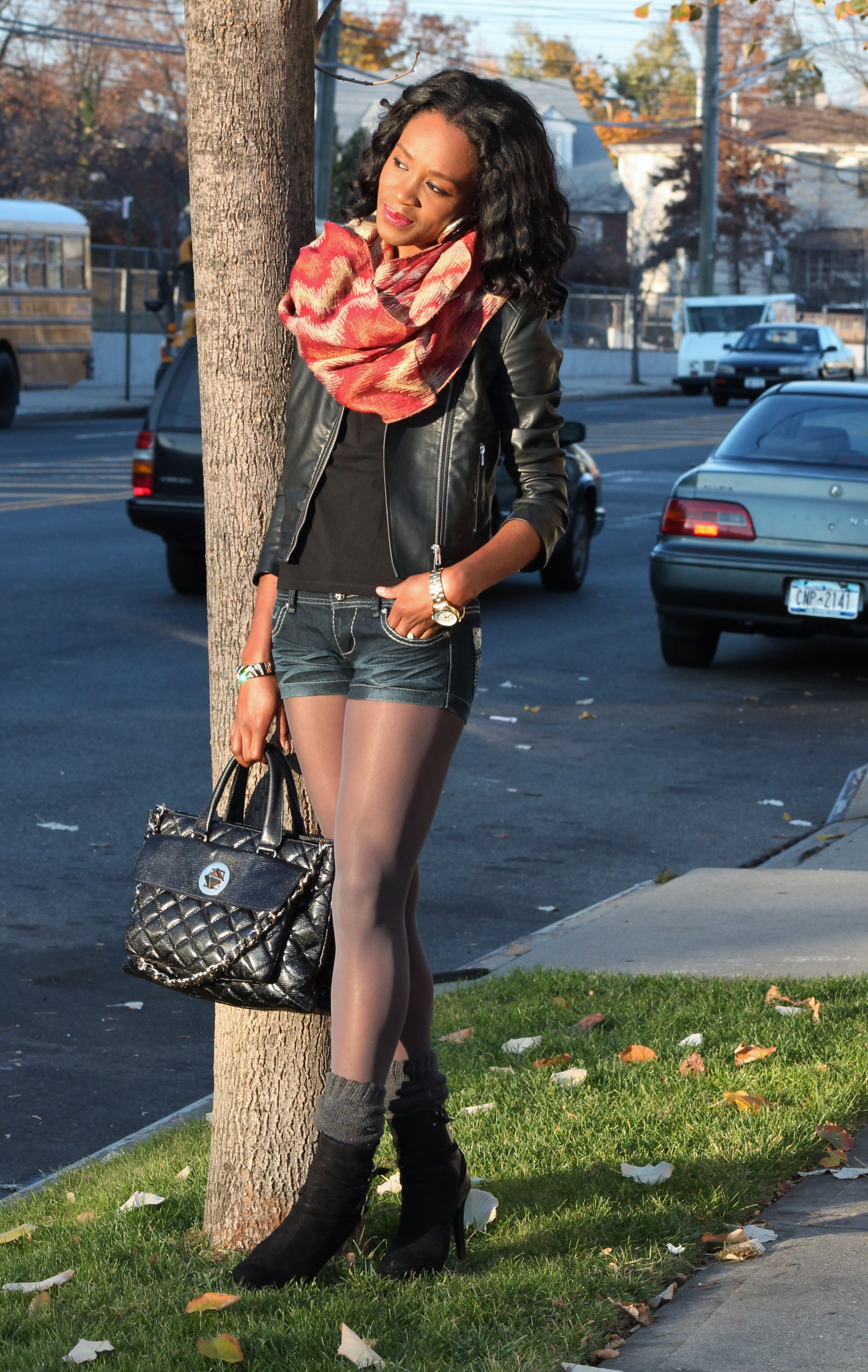 rocker chic denim, leather and booties