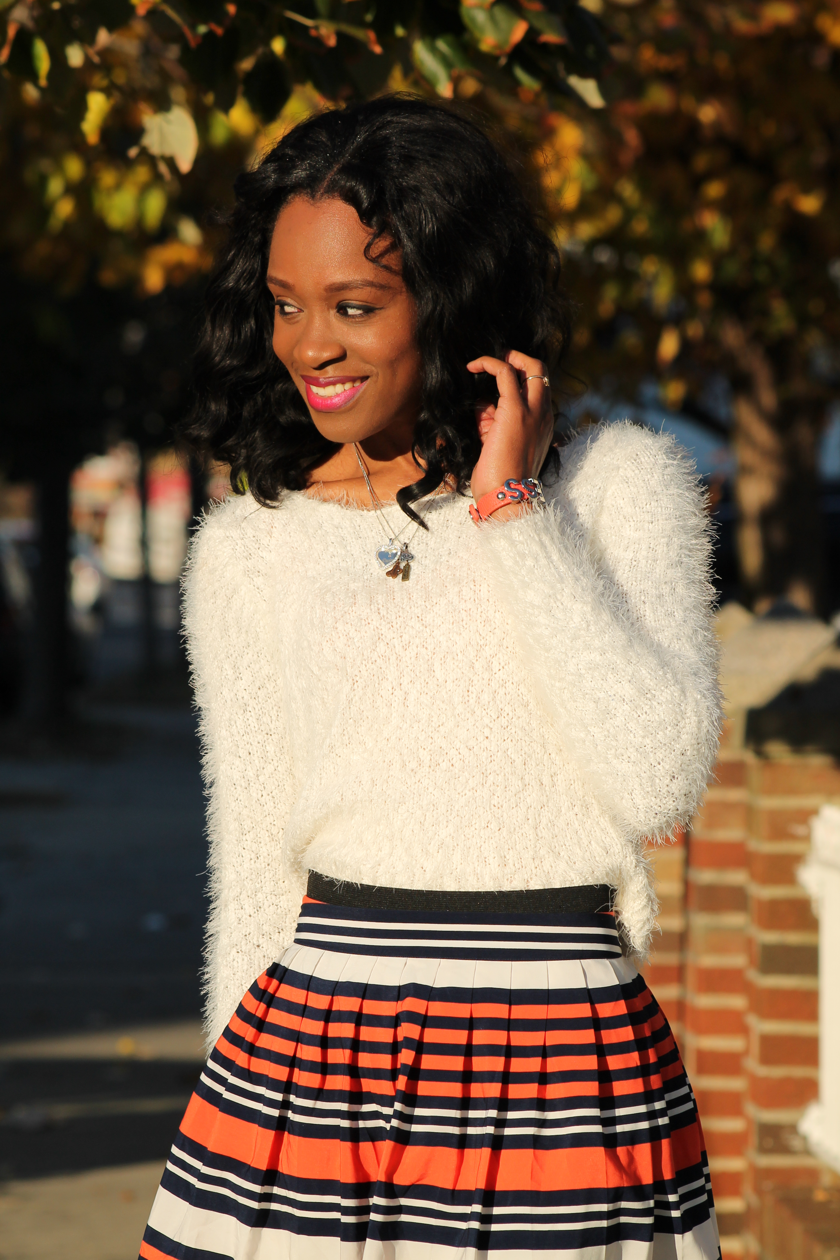 Striped skirt + over the knee boots + fluffy sweater (10)