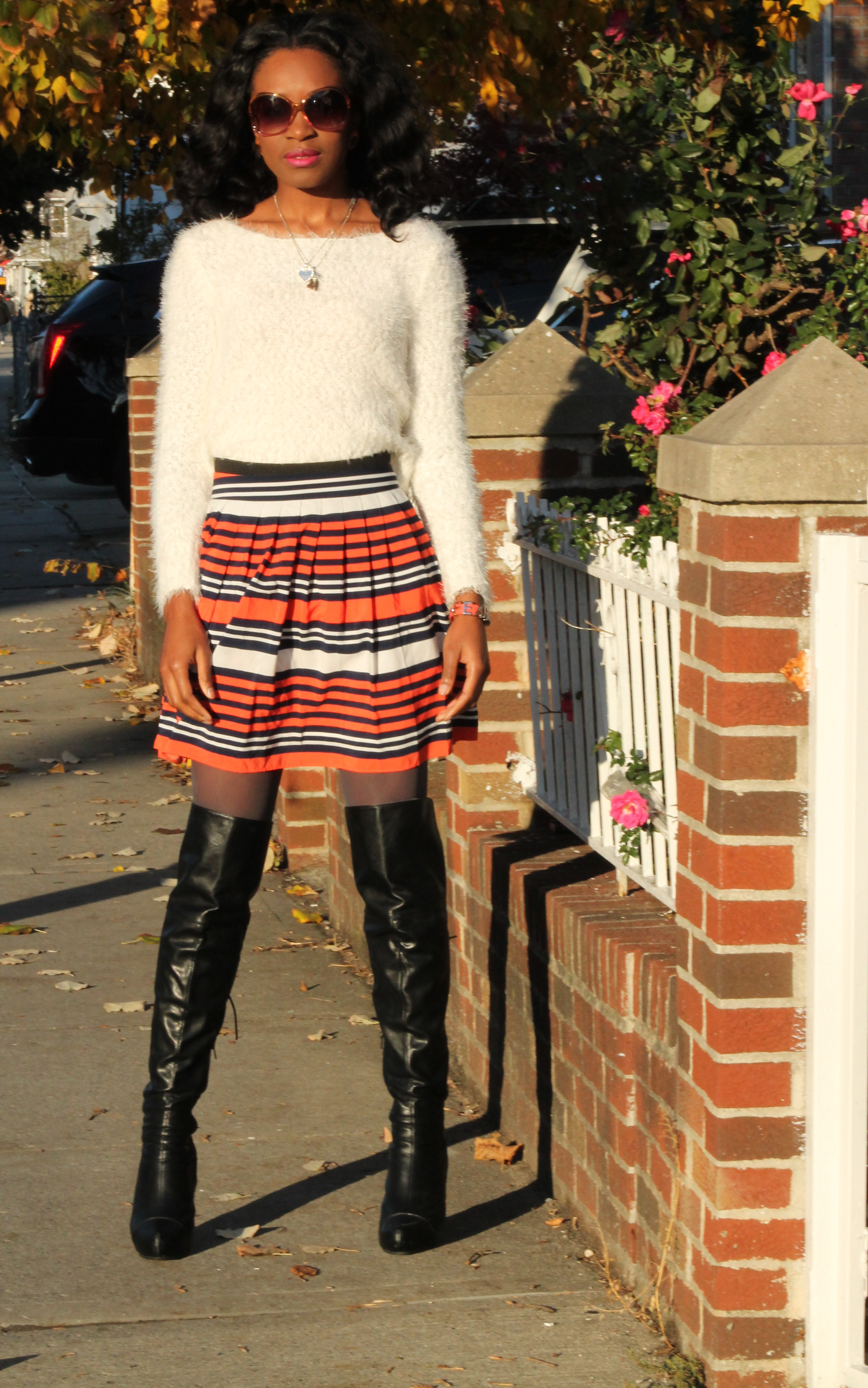 Striped skirt + over the knee boots + fluffy sweater (3)