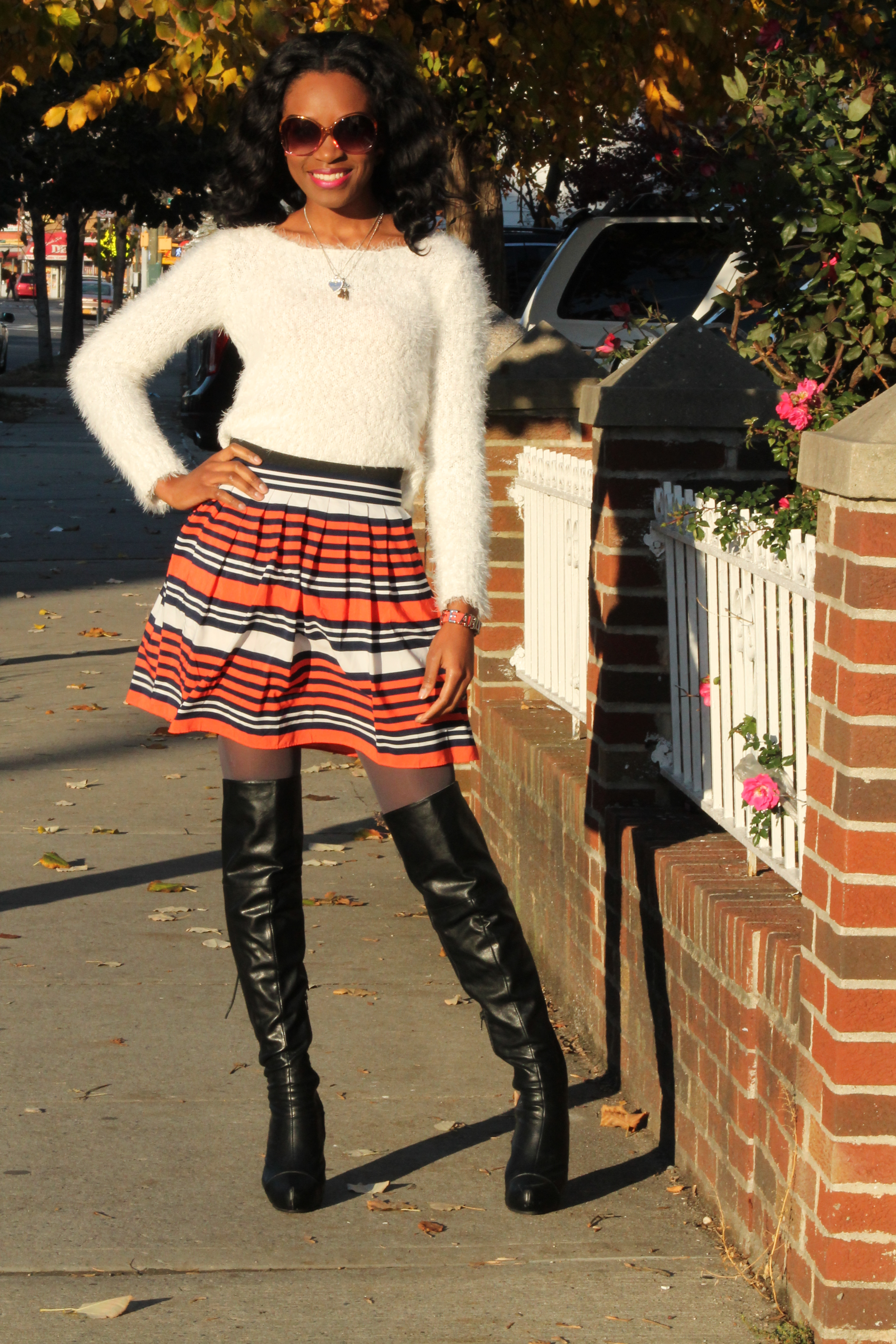 Striped skirt + over the knee boots + fluffy sweater (4)