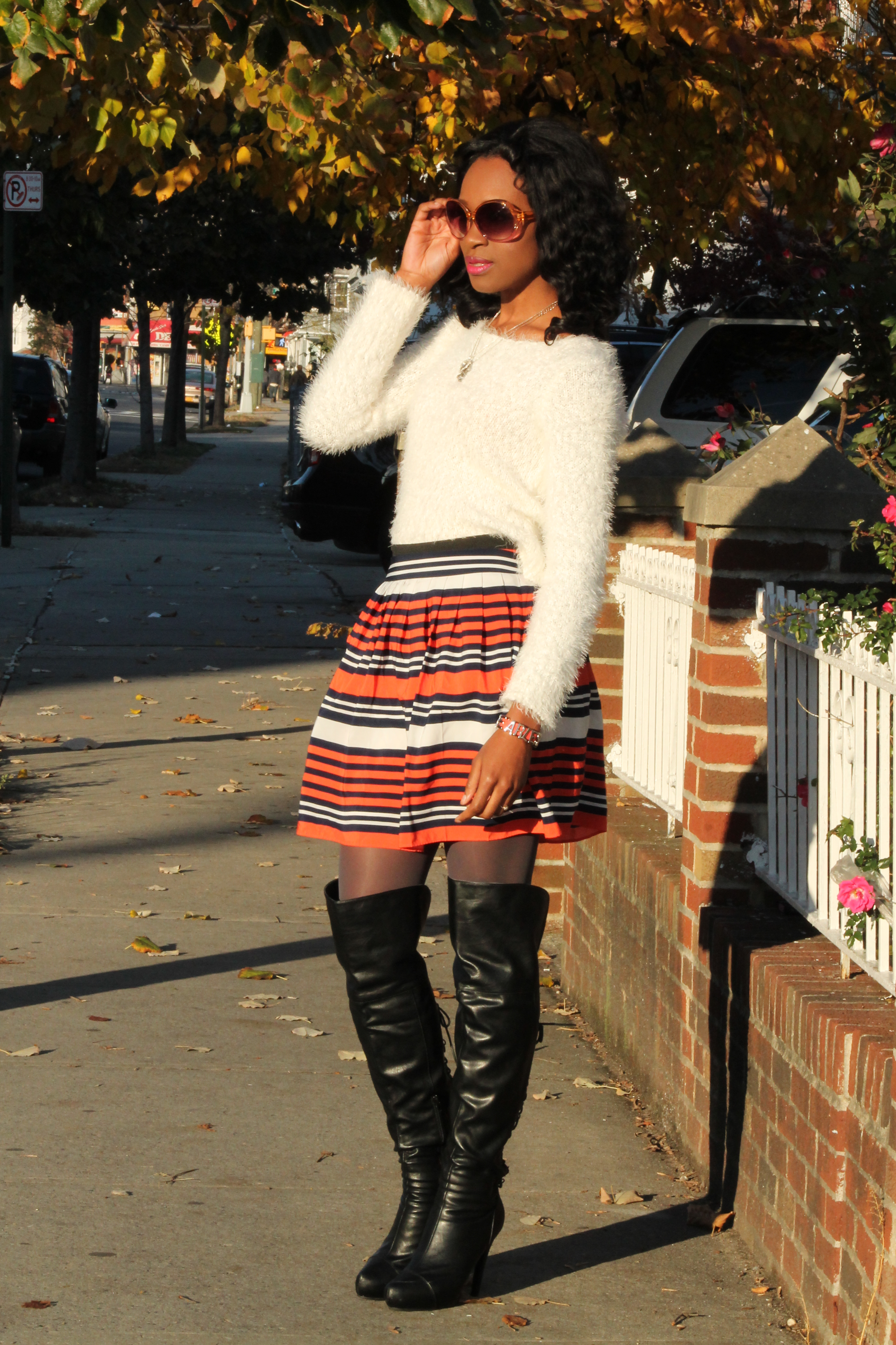 Striped skirt + over the knee boots + fluffy sweater (6)