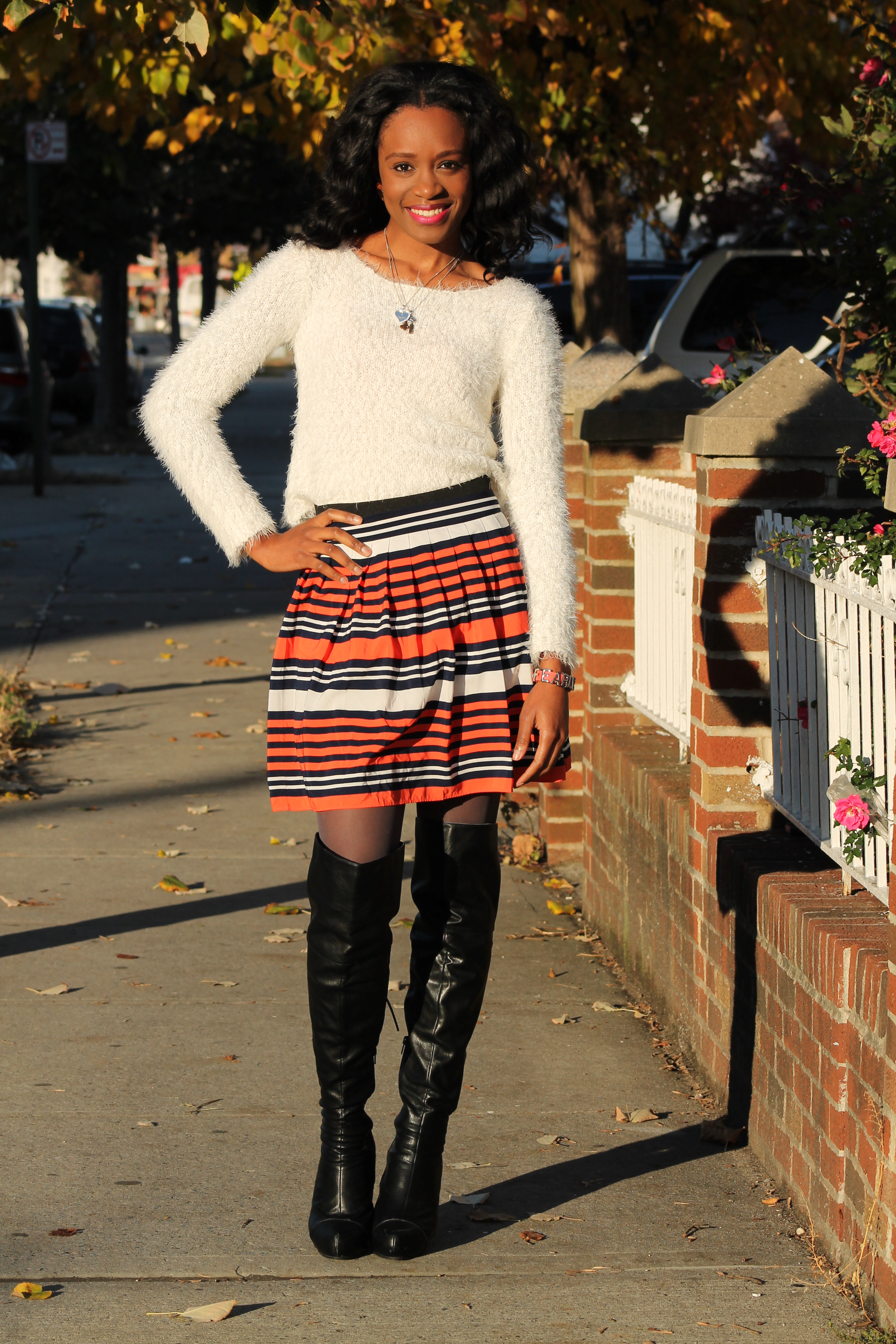 Striped skirt + over the knee boots + fluffy sweater (7)