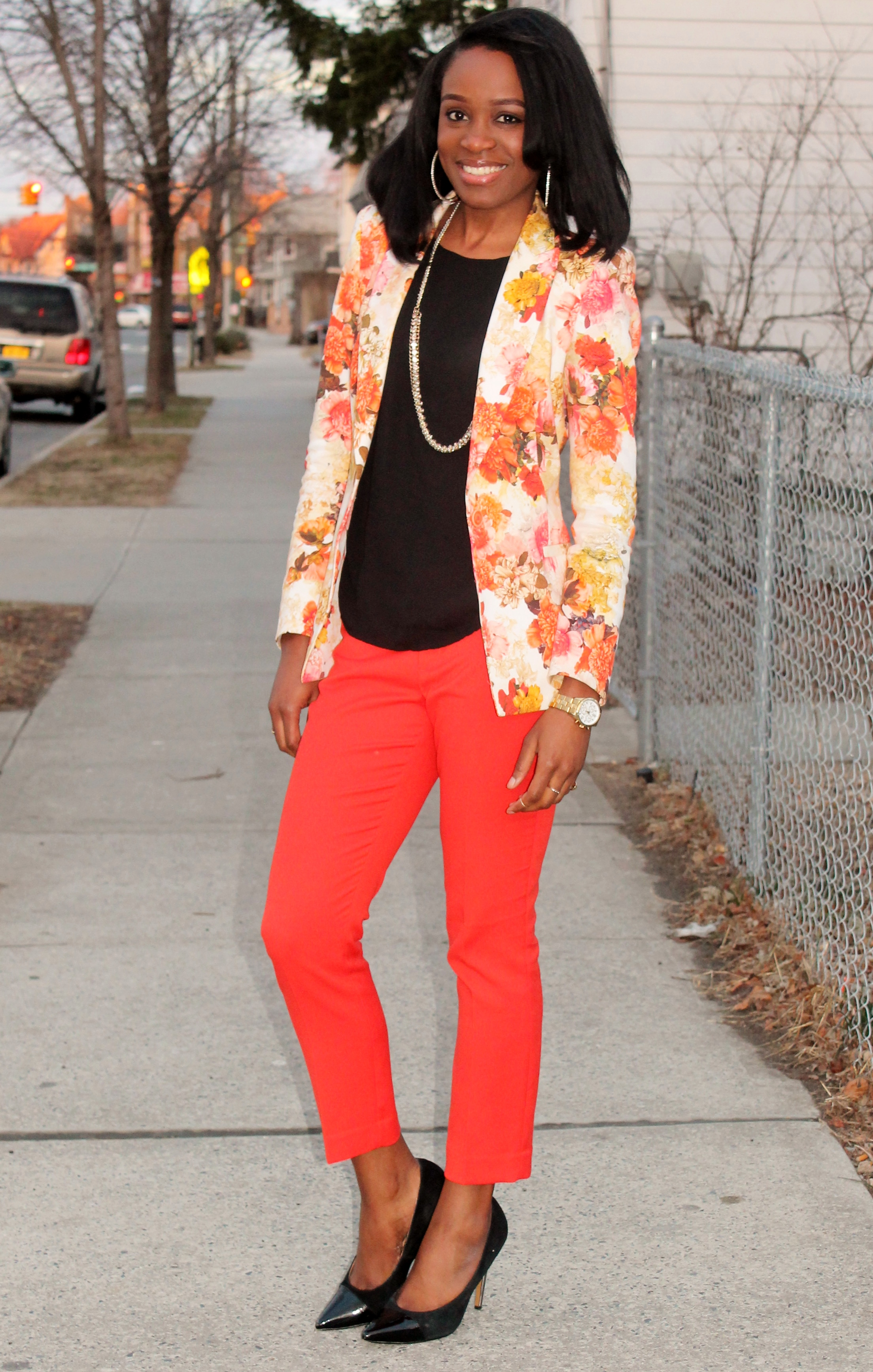 Floral blazer + ankle trousers (1)