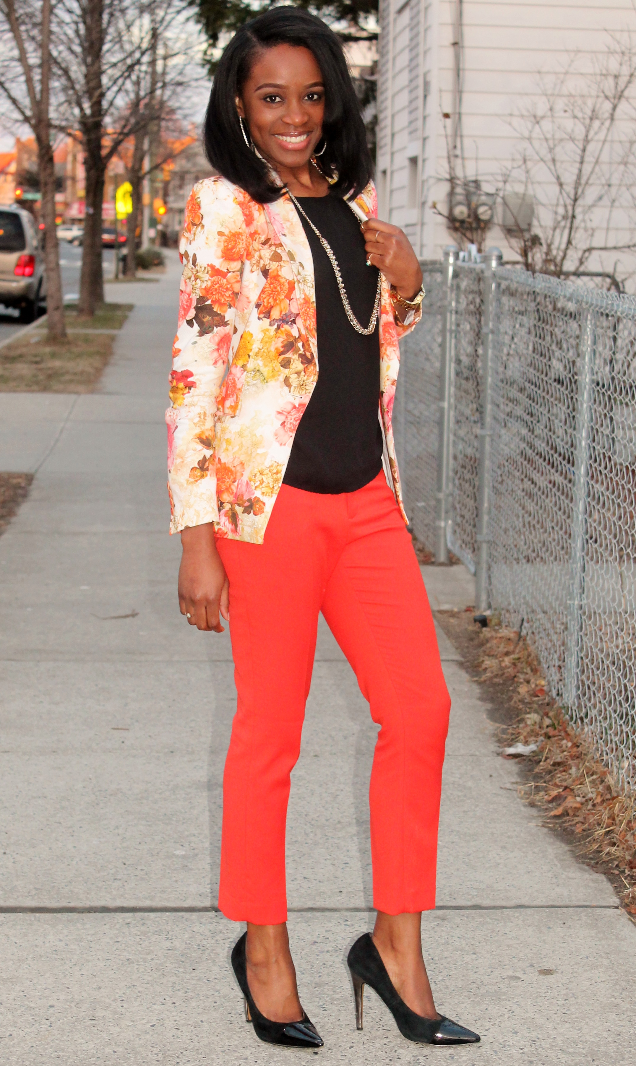 Floral blazer + ankle trousers (2)