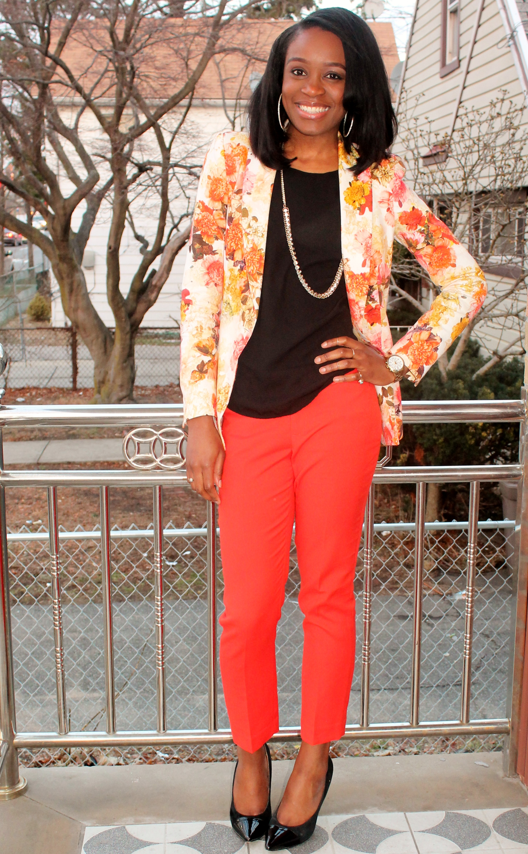 Floral blazer + ankle trousers (5)