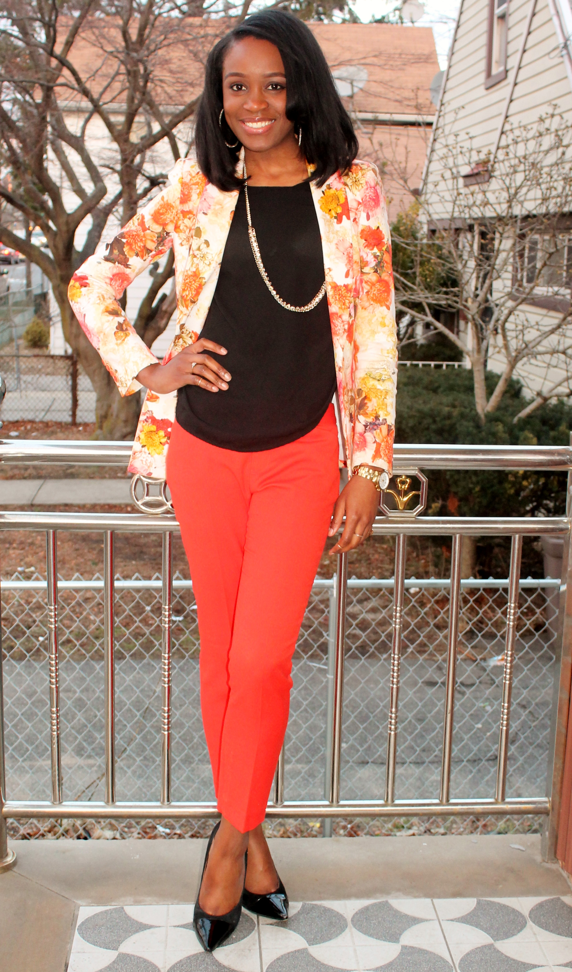 Floral blazer + ankle trousers (6)