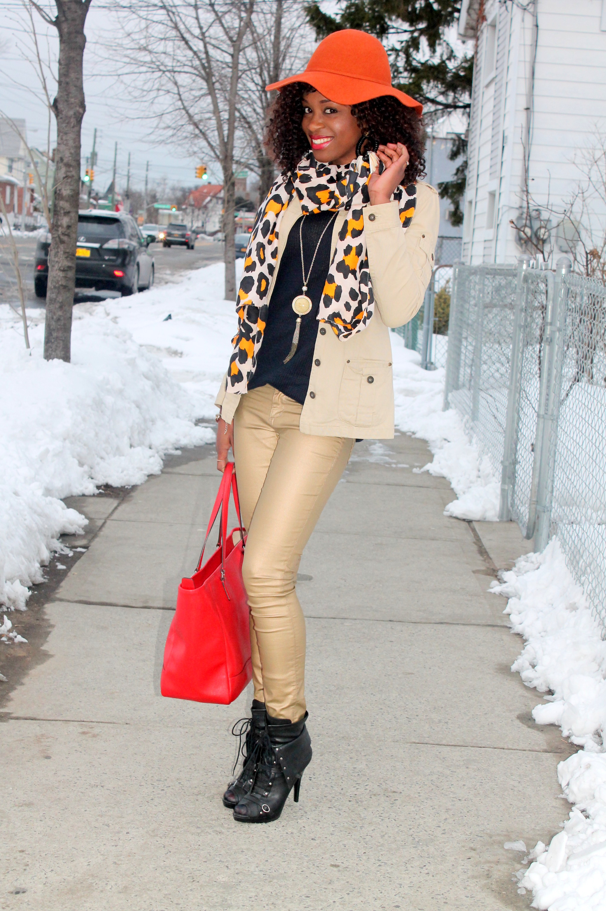 Coated denim + leopard scarf (10)