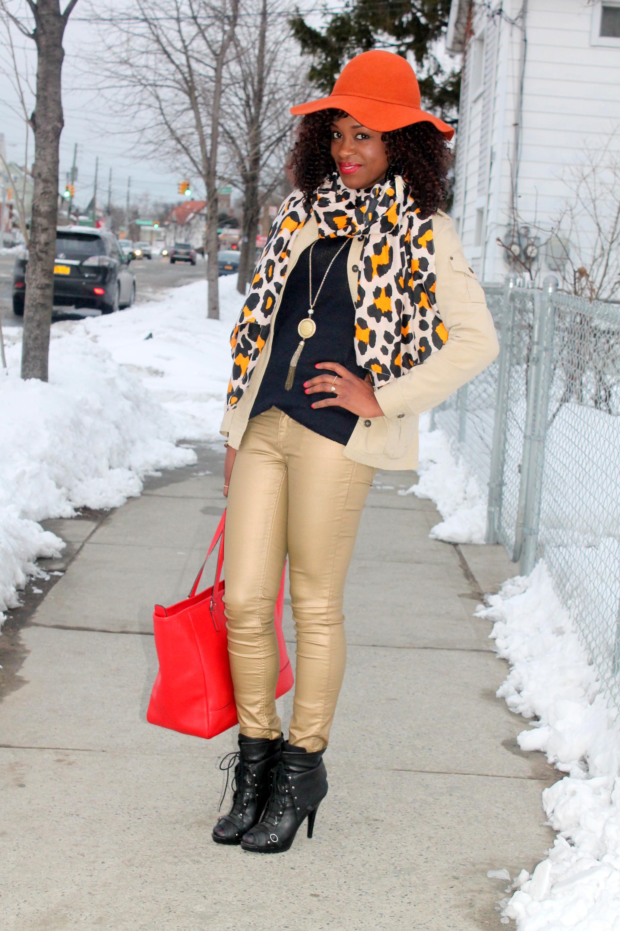 Coated denim + leopard scarf (11)