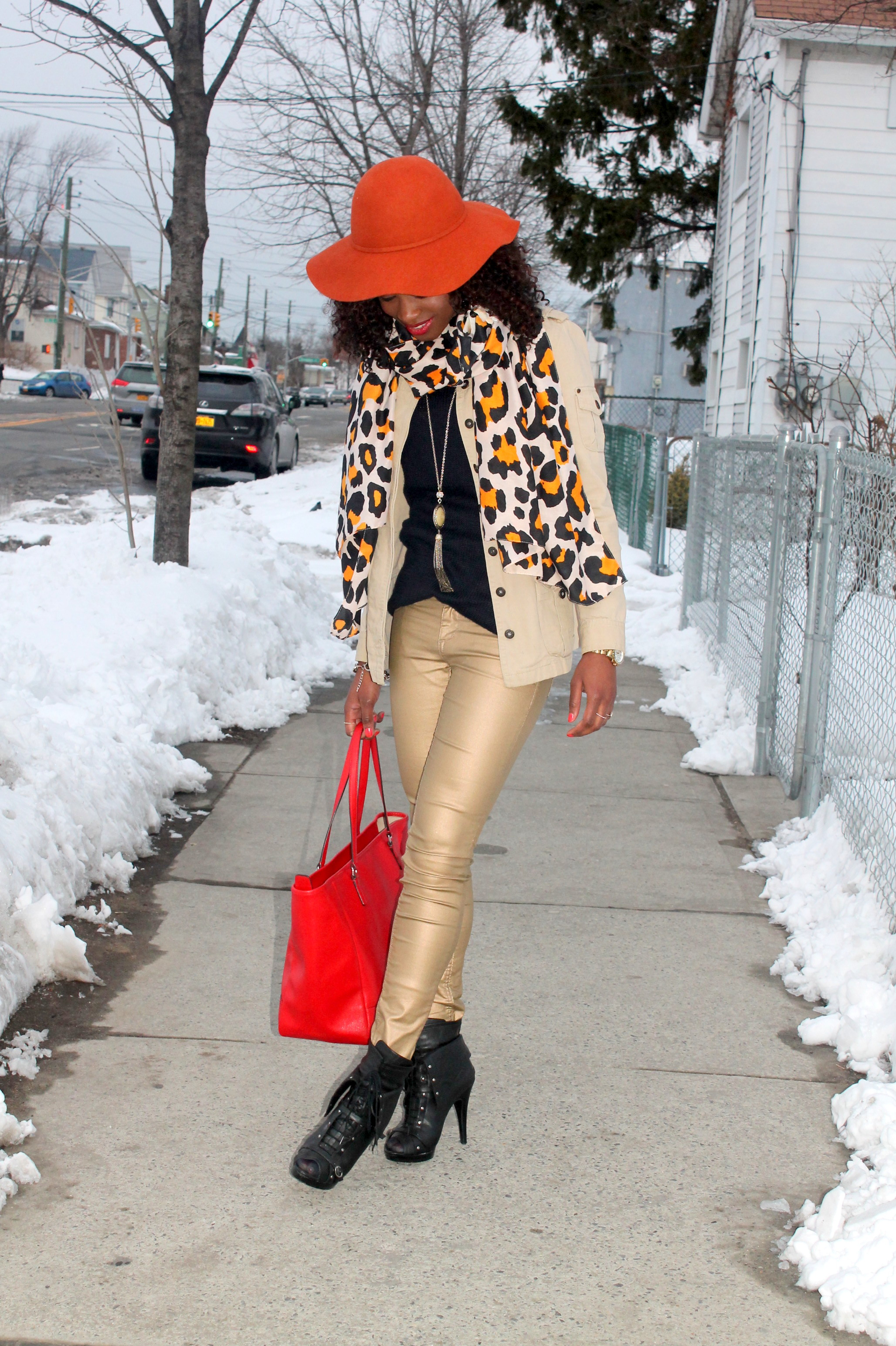 Coated denim + leopard scarf (2)
