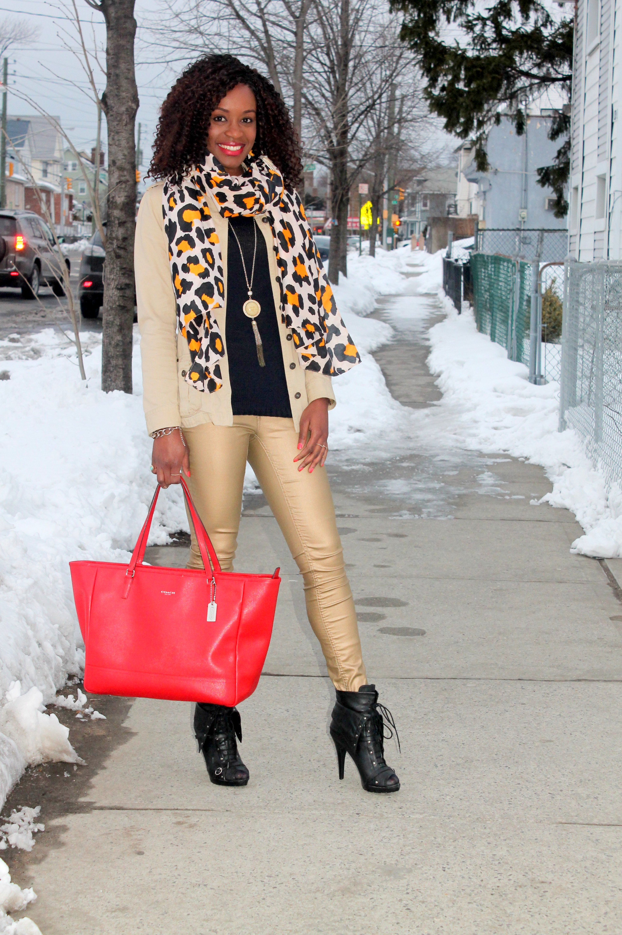 Coated denim + leopard scarf (3)