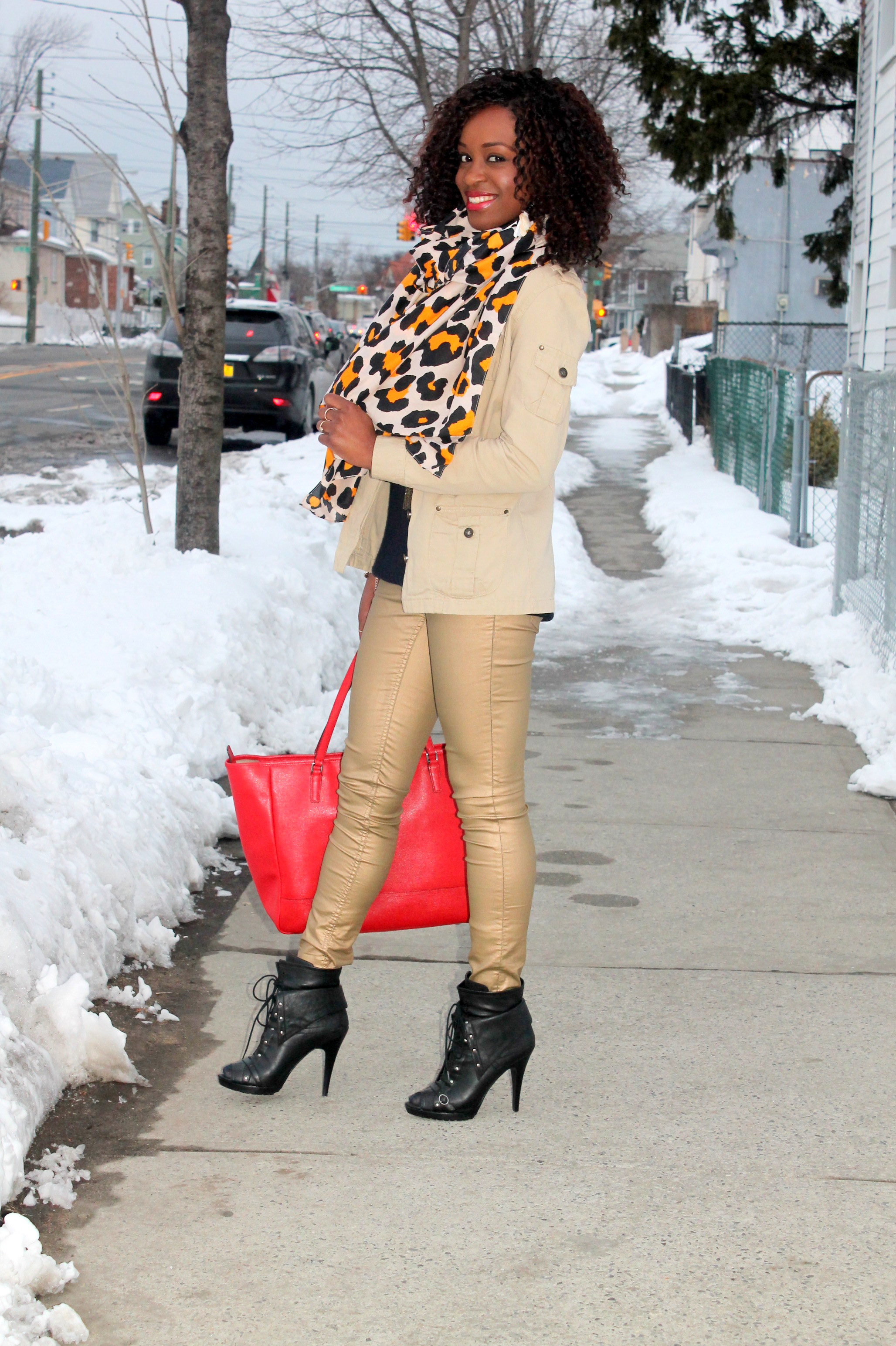 Coated denim + leopard scarf (4)