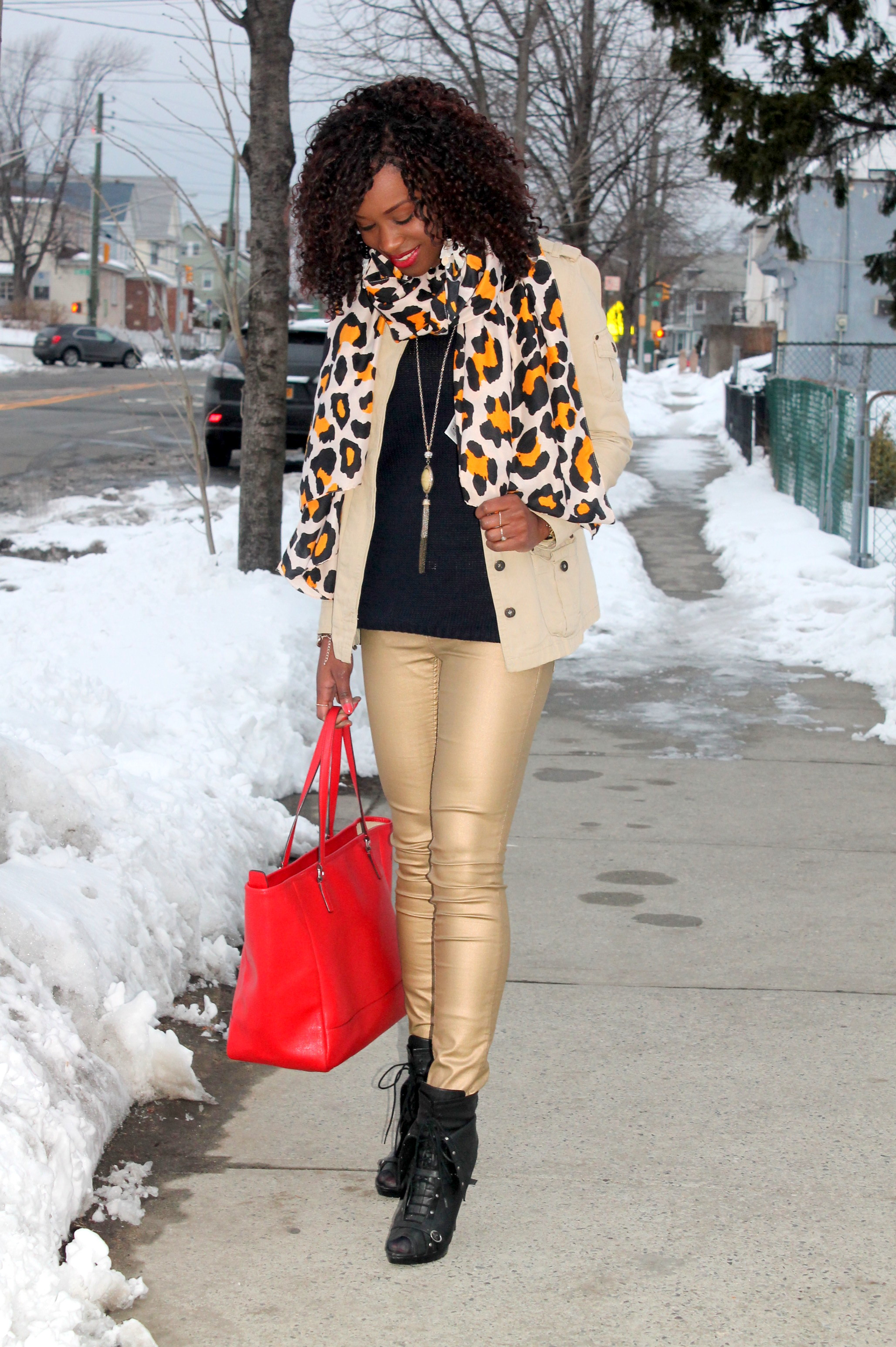 Coated denim + leopard scarf (5)