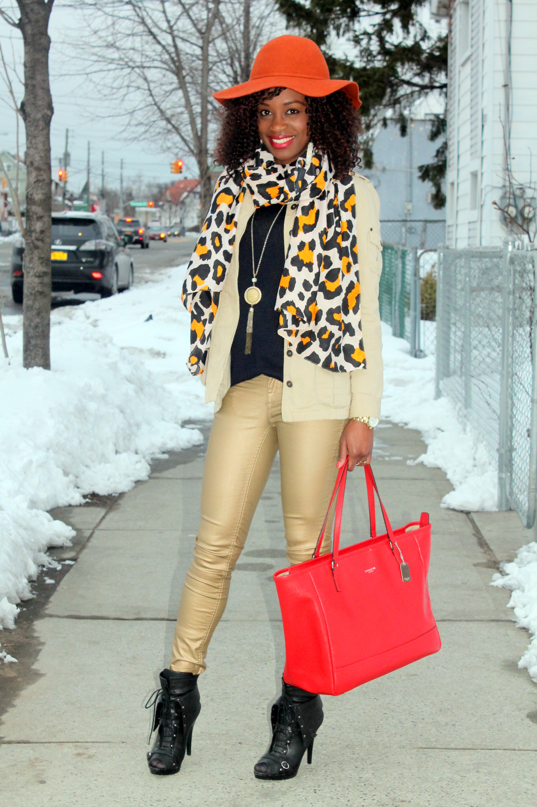 Coated denim + leopard scarf (6)