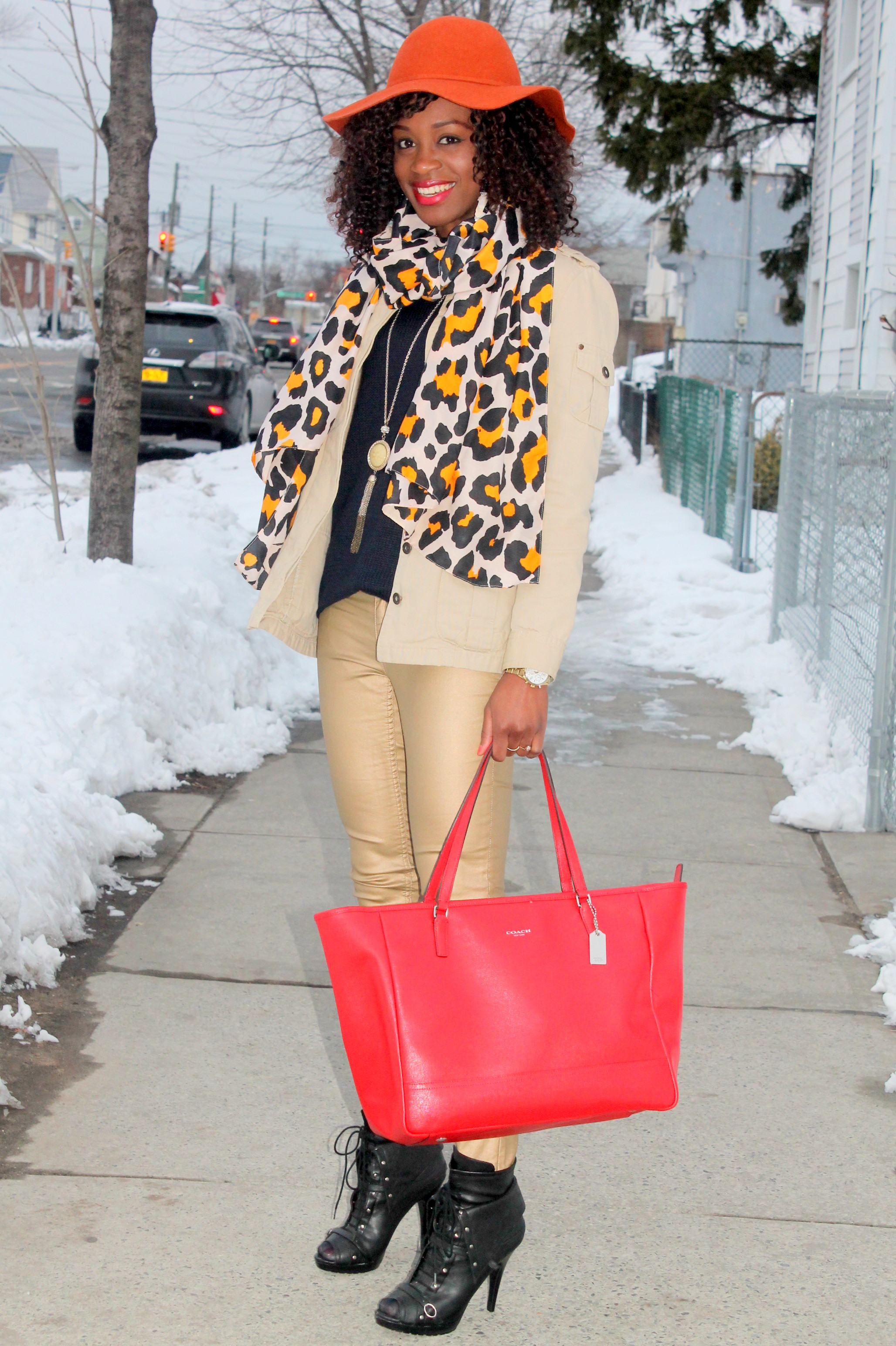 Coated denim + leopard scarf (7)