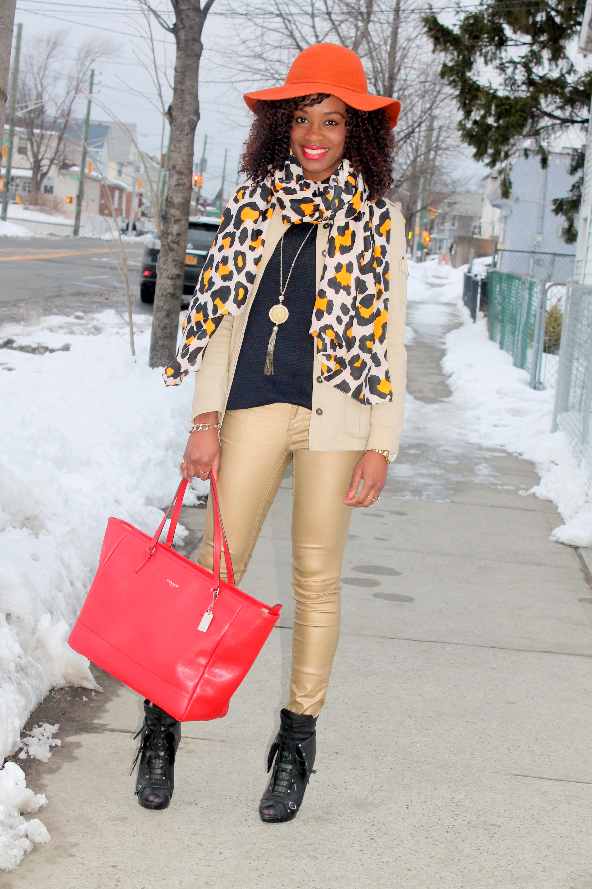 Coated denim + leopard scarf (8)