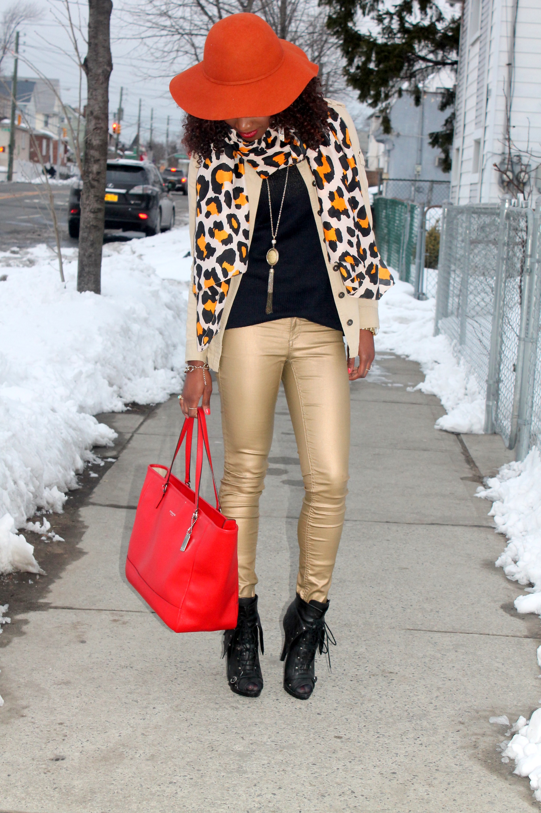 Coated denim + leopard scarf (9)