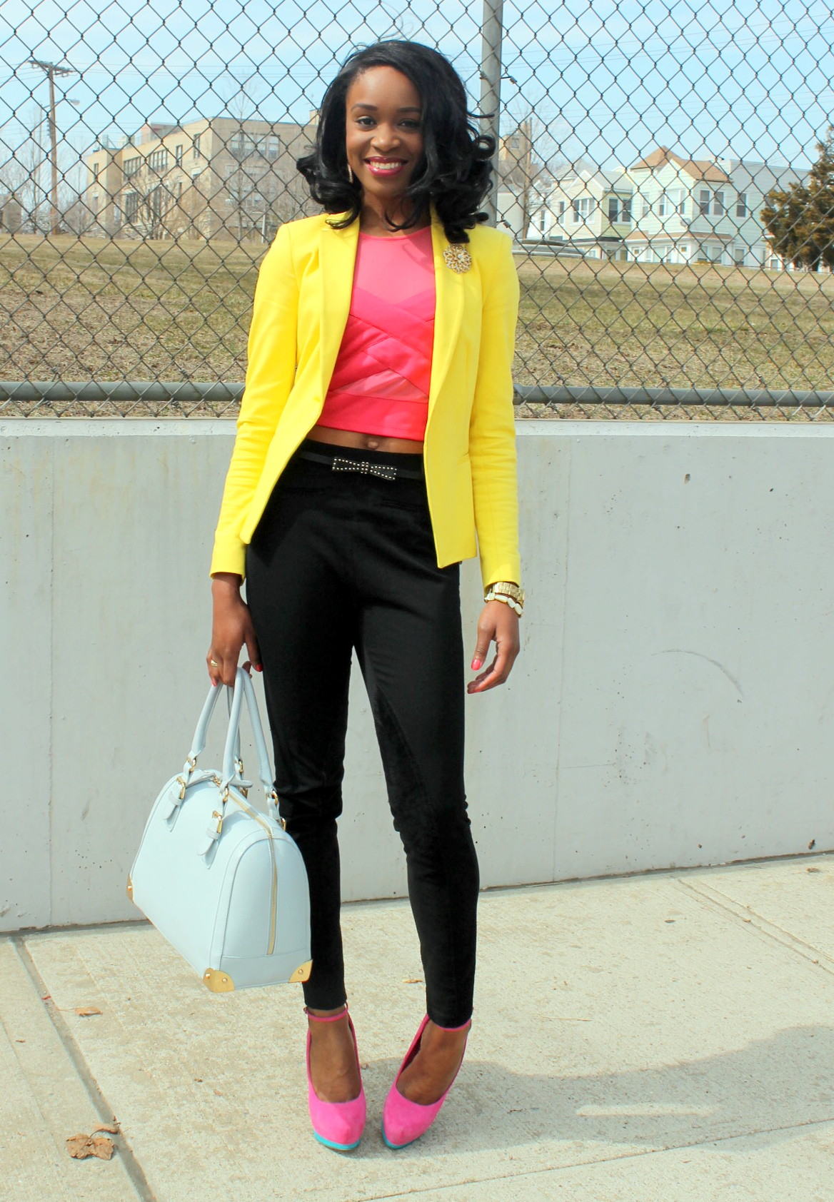 Black trousers + pink croptop + yellow blazer (11)