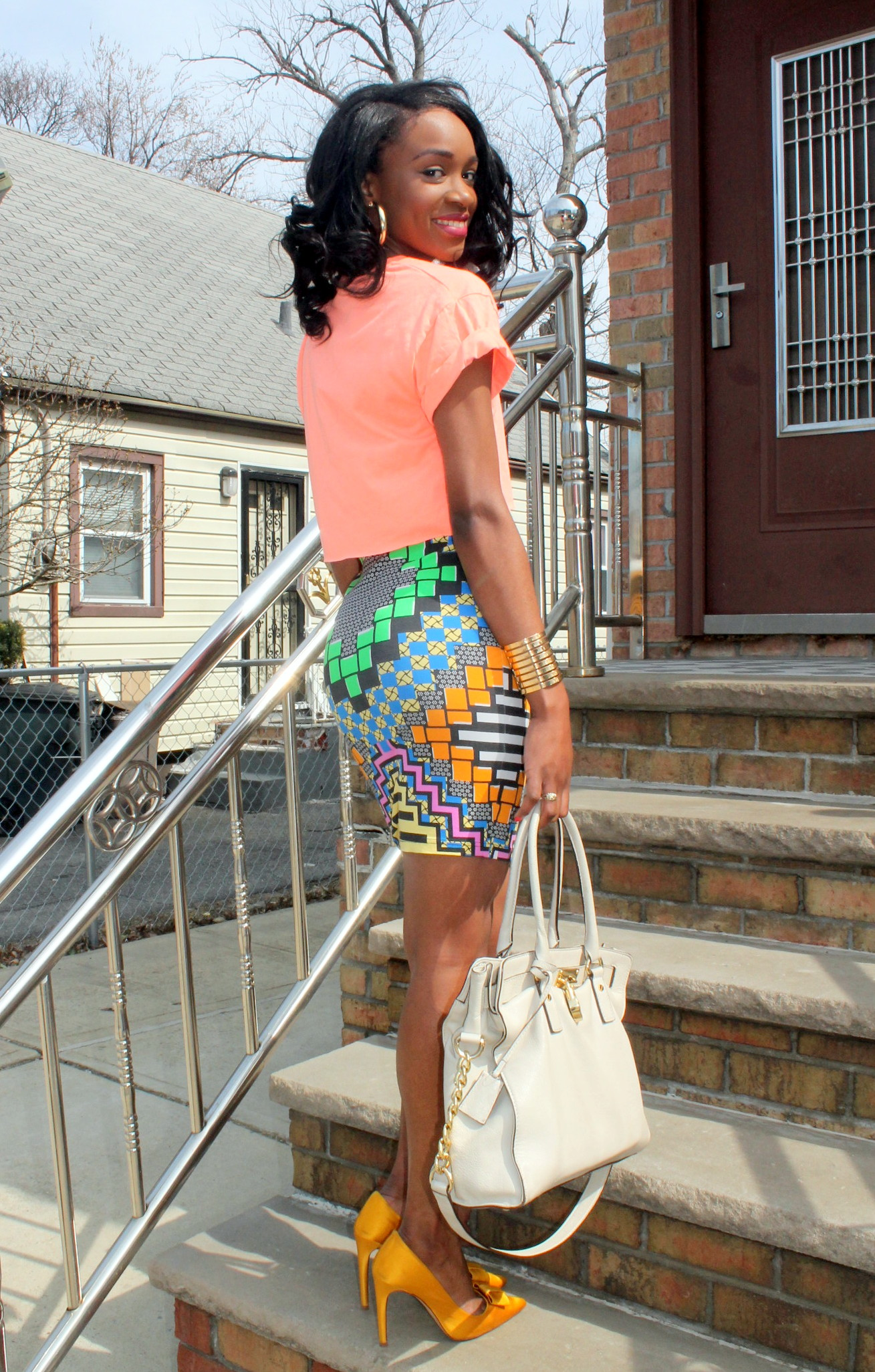Colorful printed skirt + crop top (1)