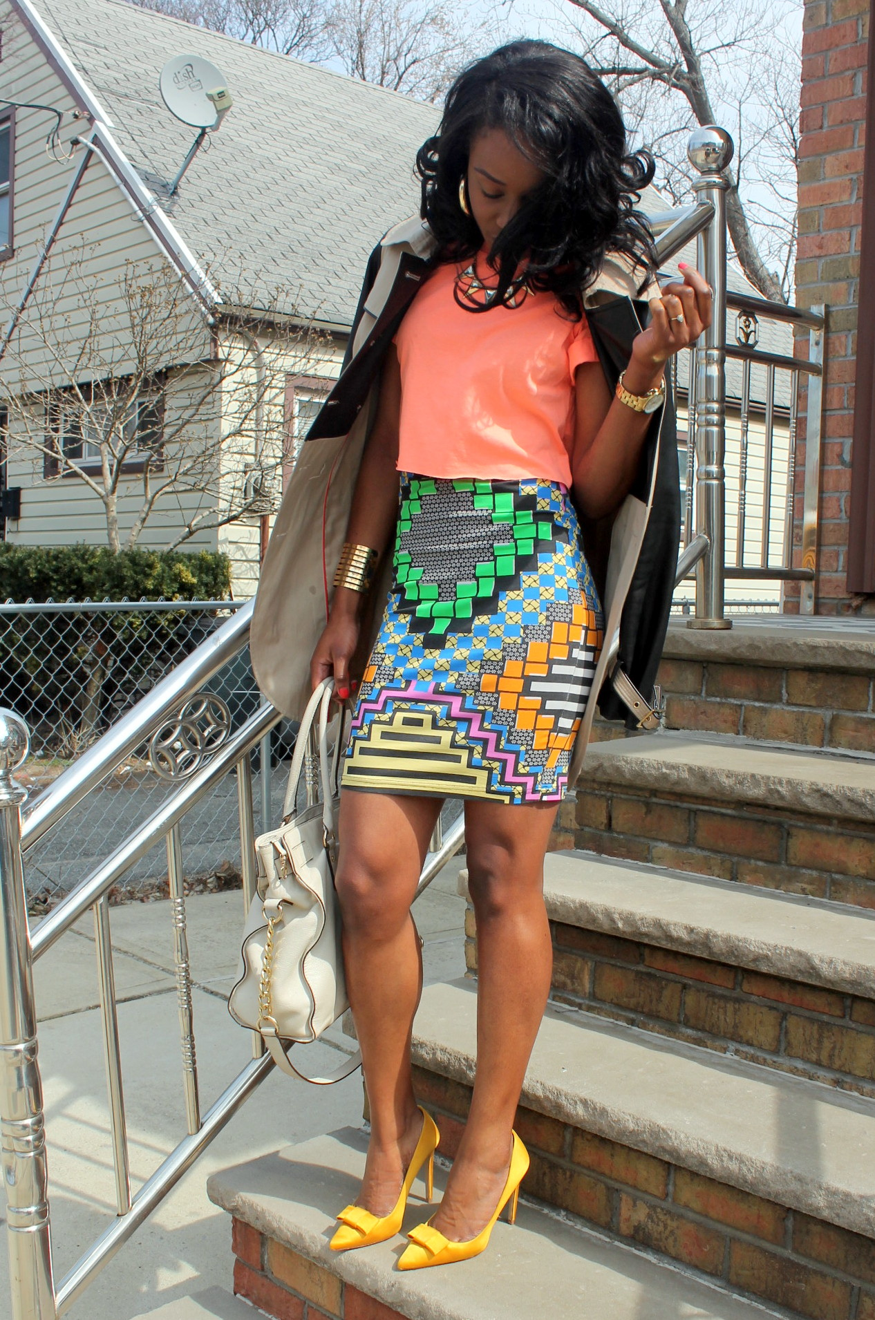 Colorful printed skirt + crop top (3)