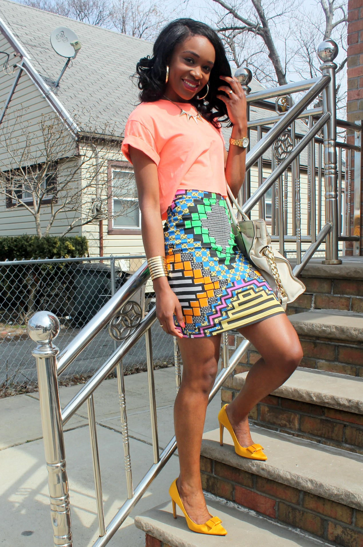 Colorful printed skirt + crop top (4)