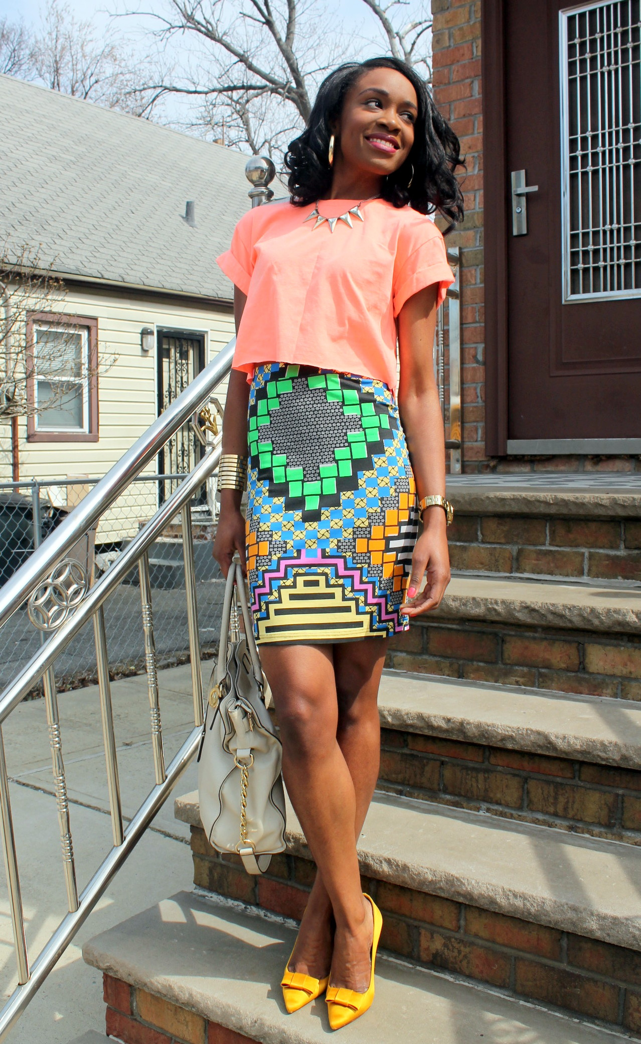 Colorful printed skirt + crop top (6)