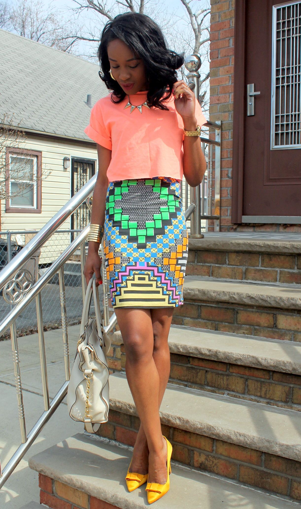 Colorful printed skirt + crop top (7)