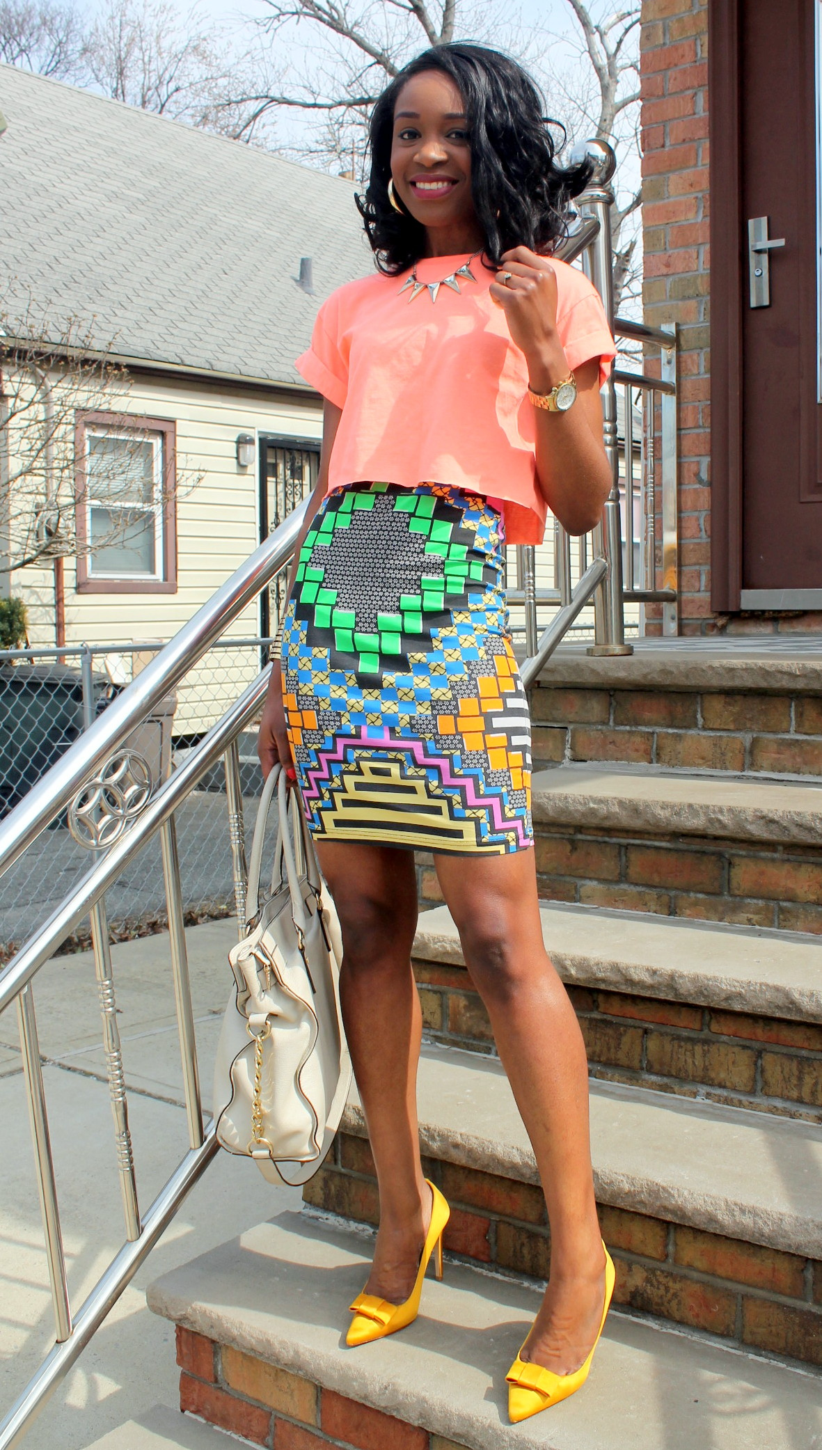 Colorful printed skirt + crop top (8)