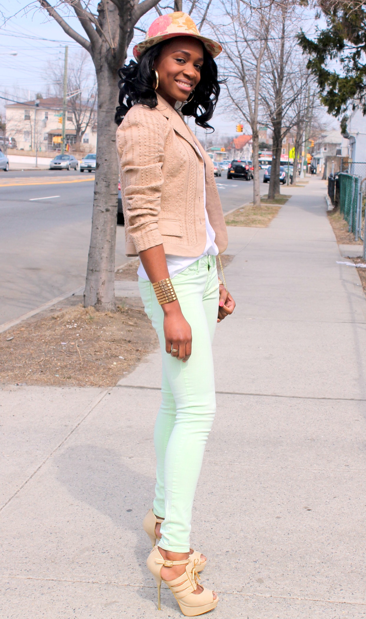 Mint denim & neutral blazer (1)