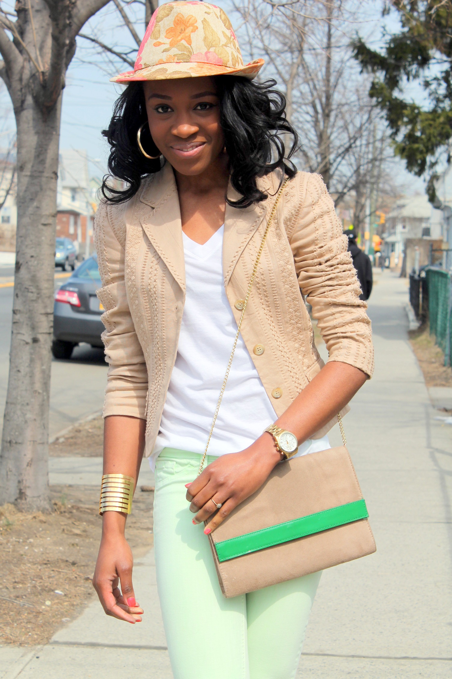 Mint denim & neutral blazer (8)
