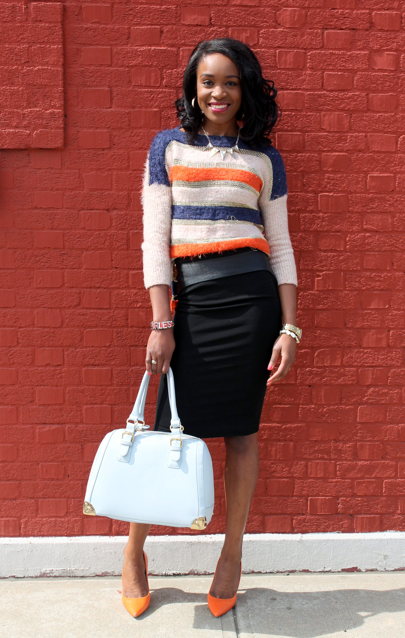 striped sweater pencil skirt with faux leather details