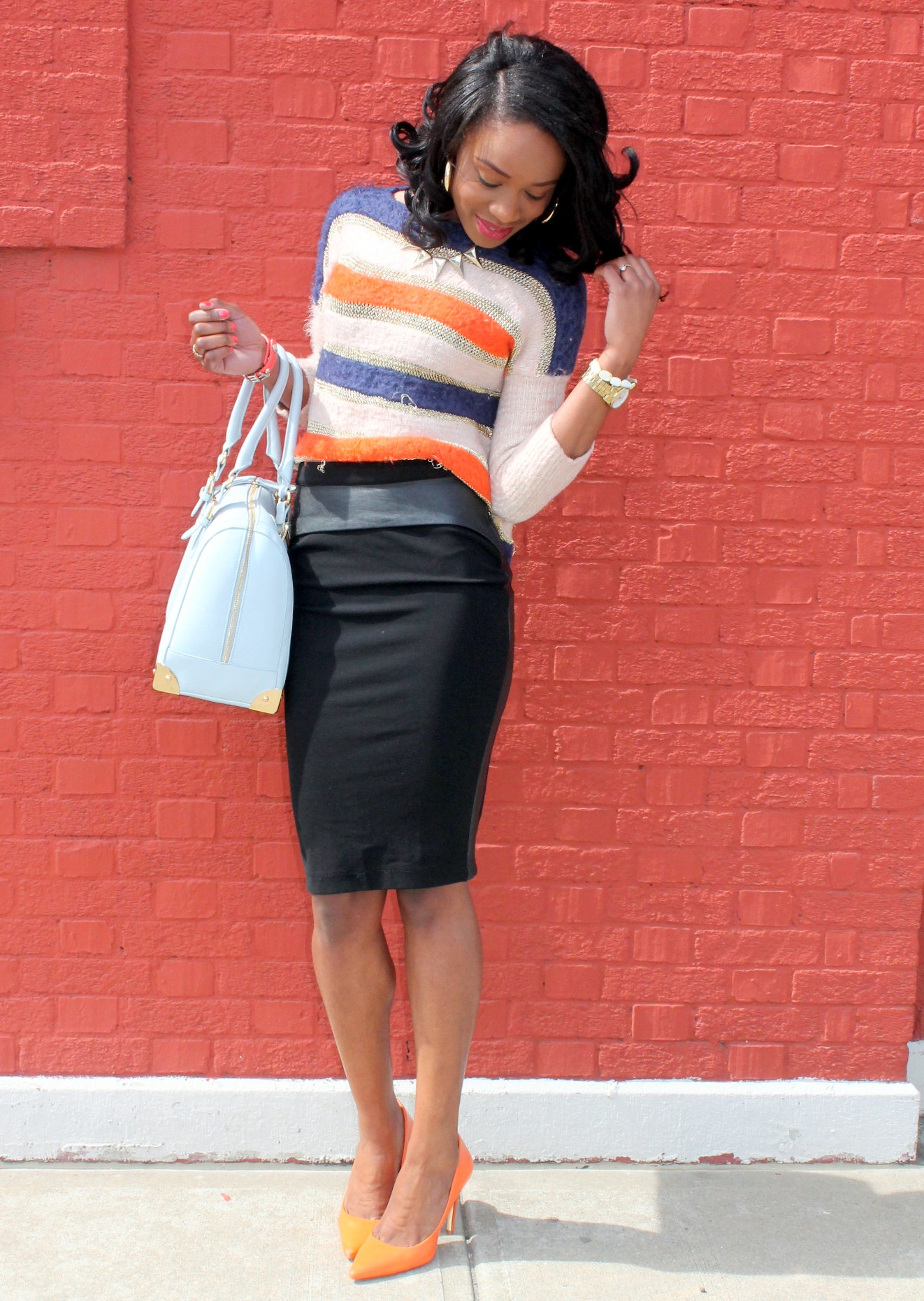 Striped sweater + Pencil skirt with faux leather details (2)