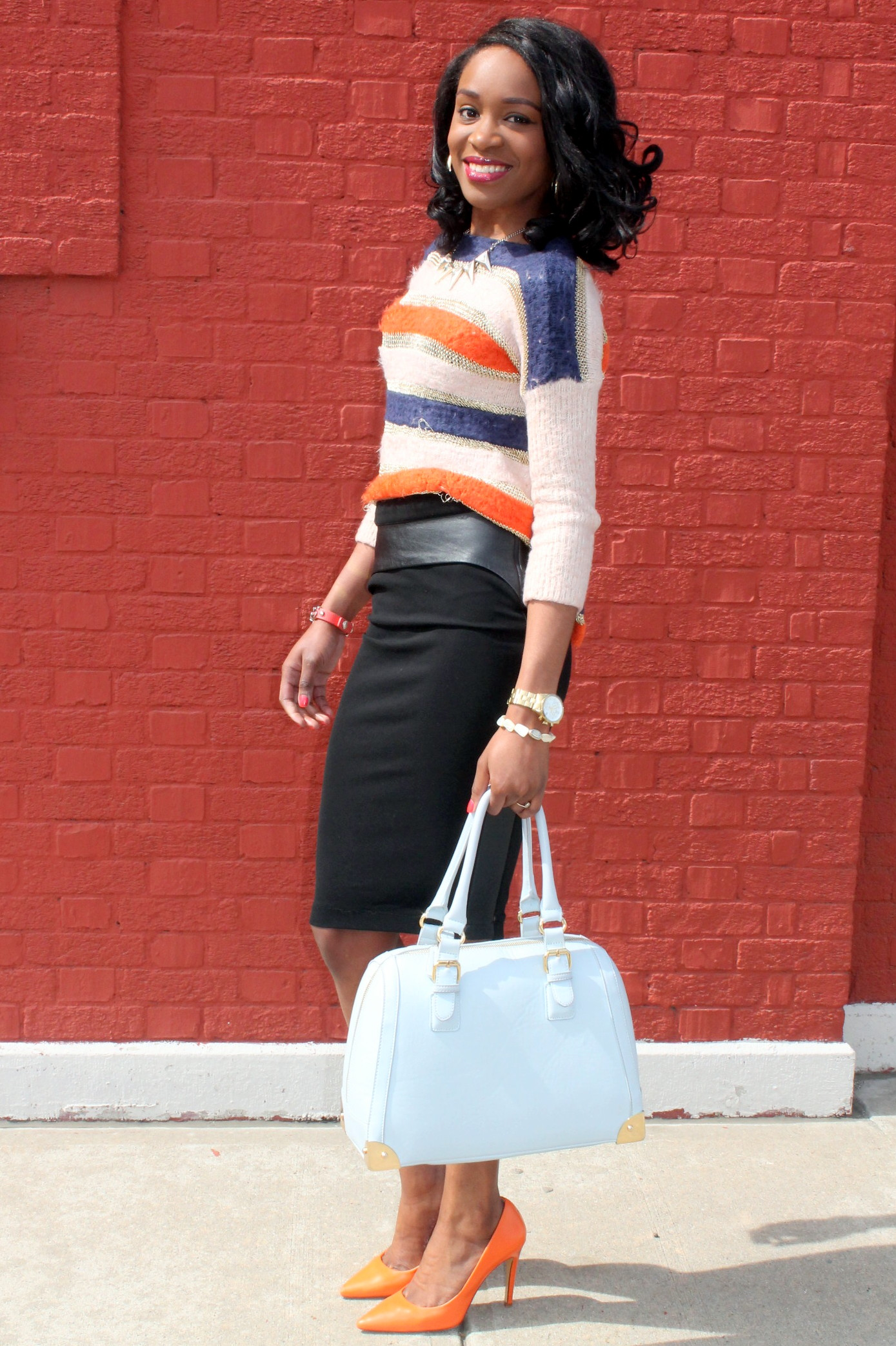 Striped sweater + Pencil skirt with faux leather details (3)
