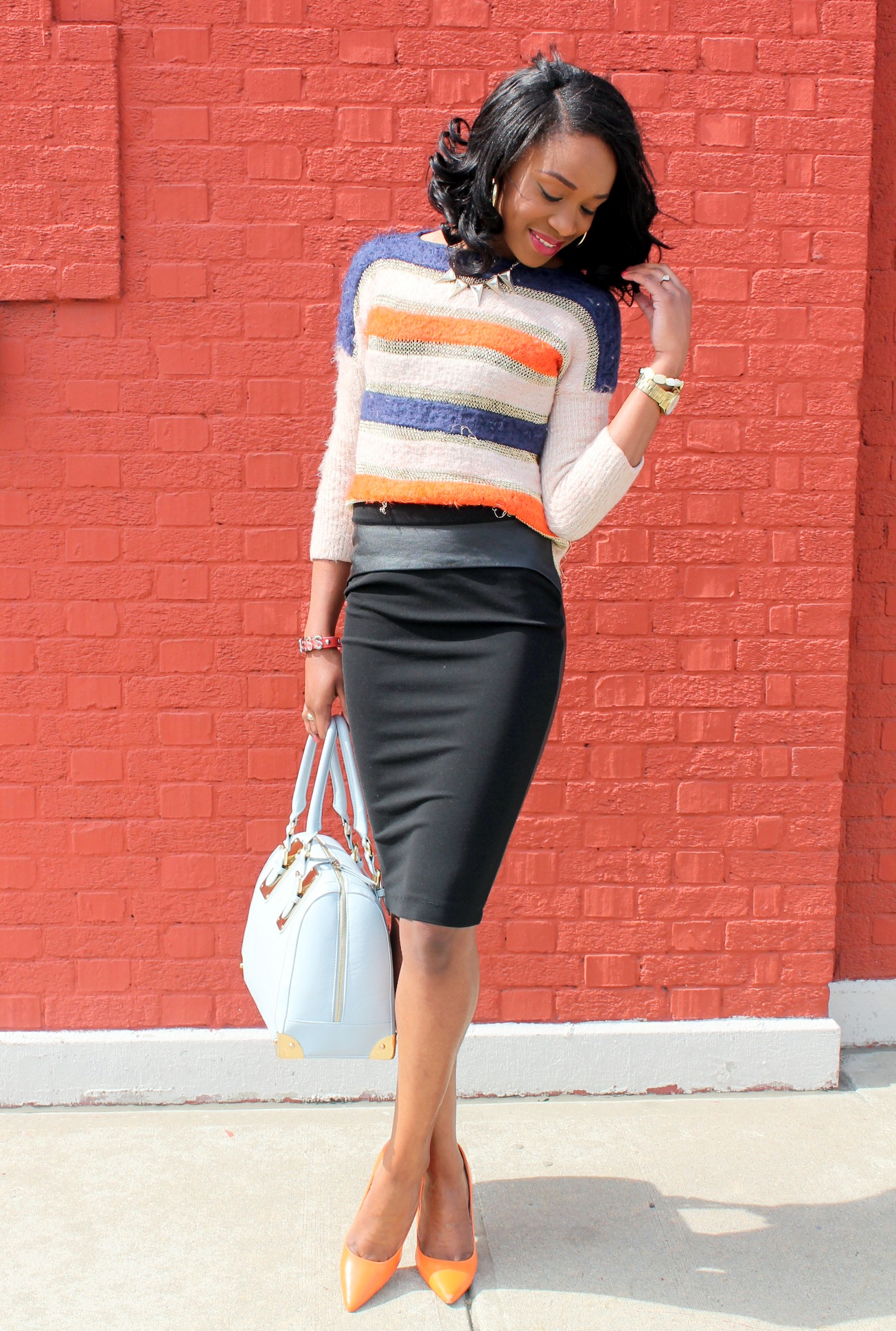 Striped sweater + Pencil skirt with faux leather details (6)