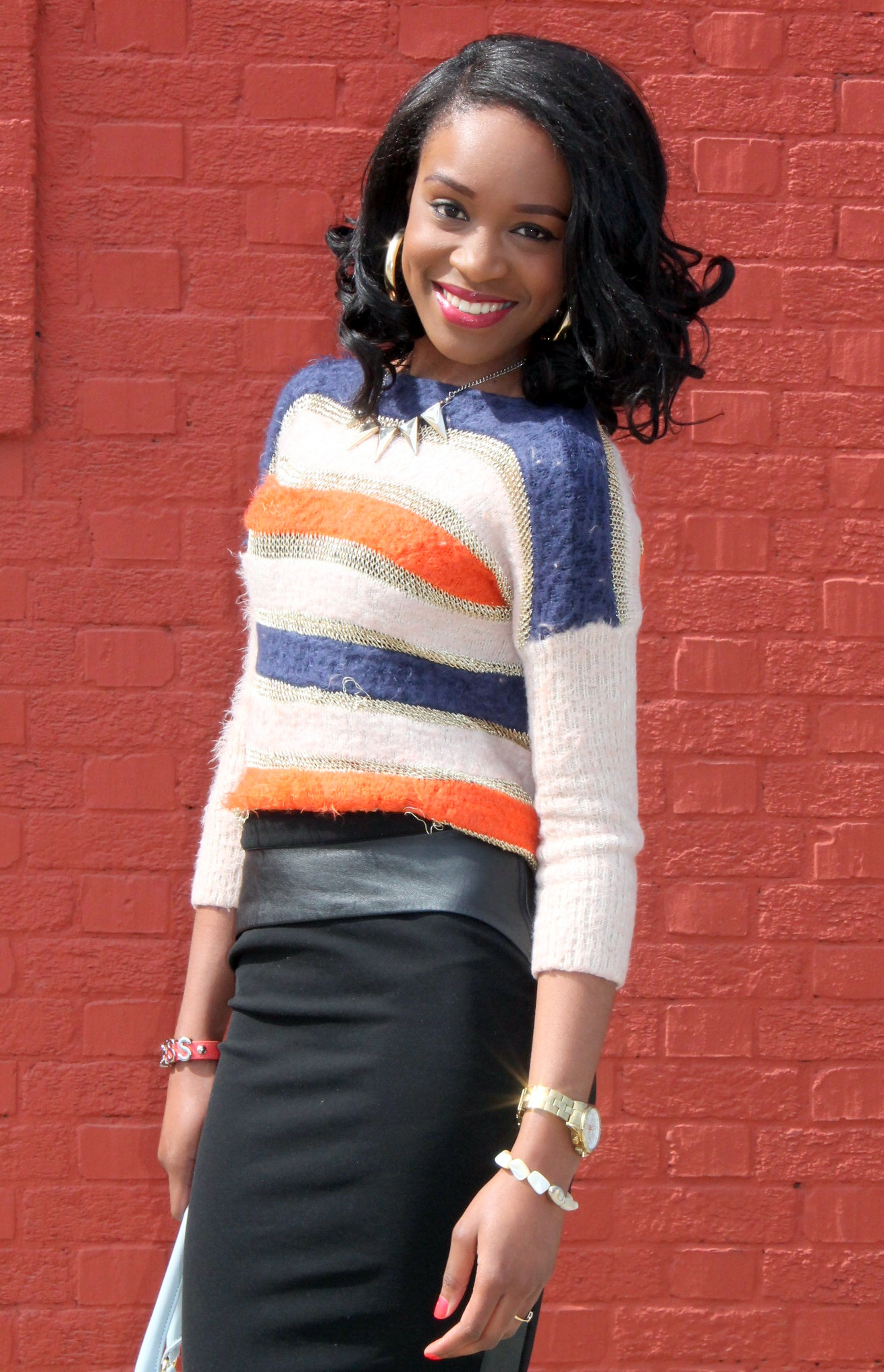 Striped sweater + Pencil skirt with faux leather details (8)