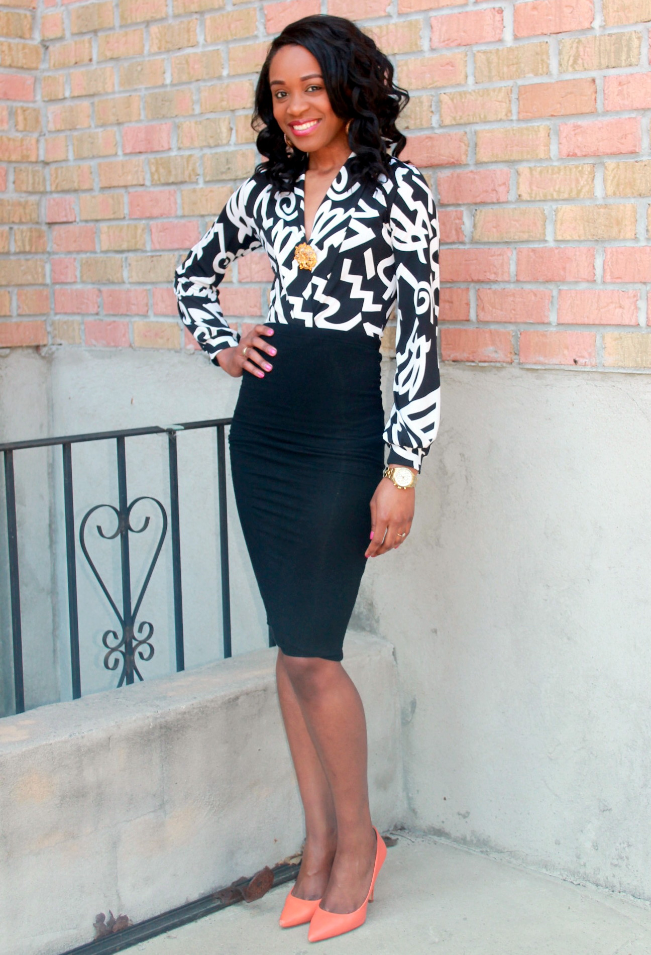Black and white + orange pumps (1)