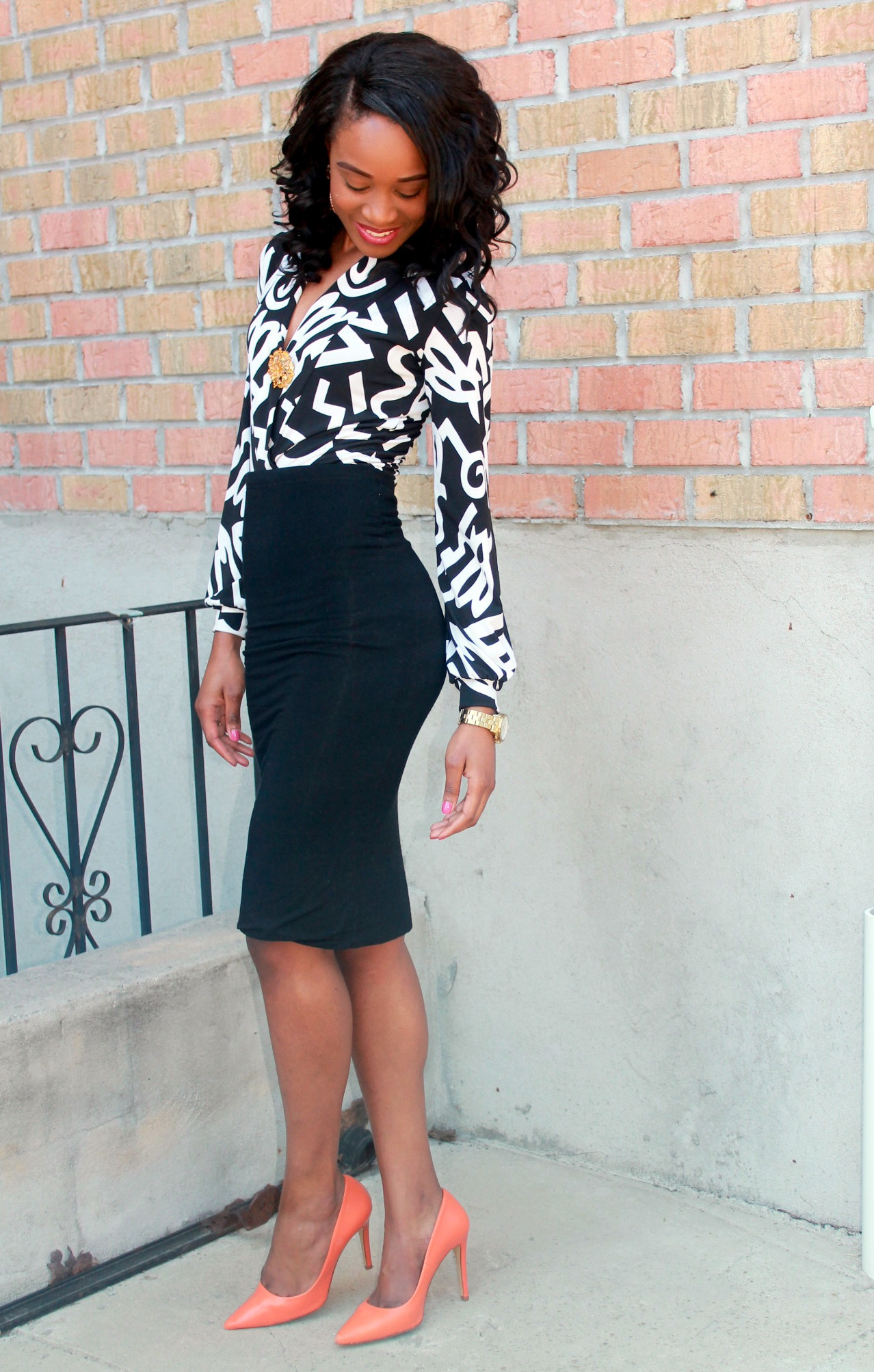 Black and white + orange pumps (4)
