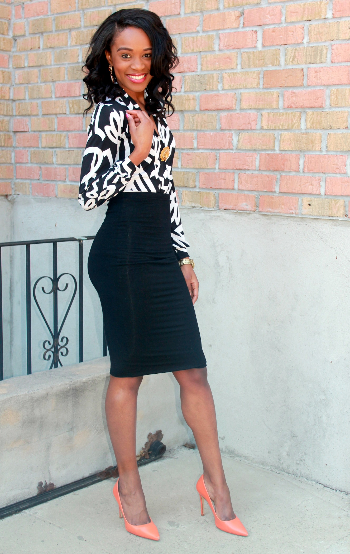 Black and white + orange pumps (6)