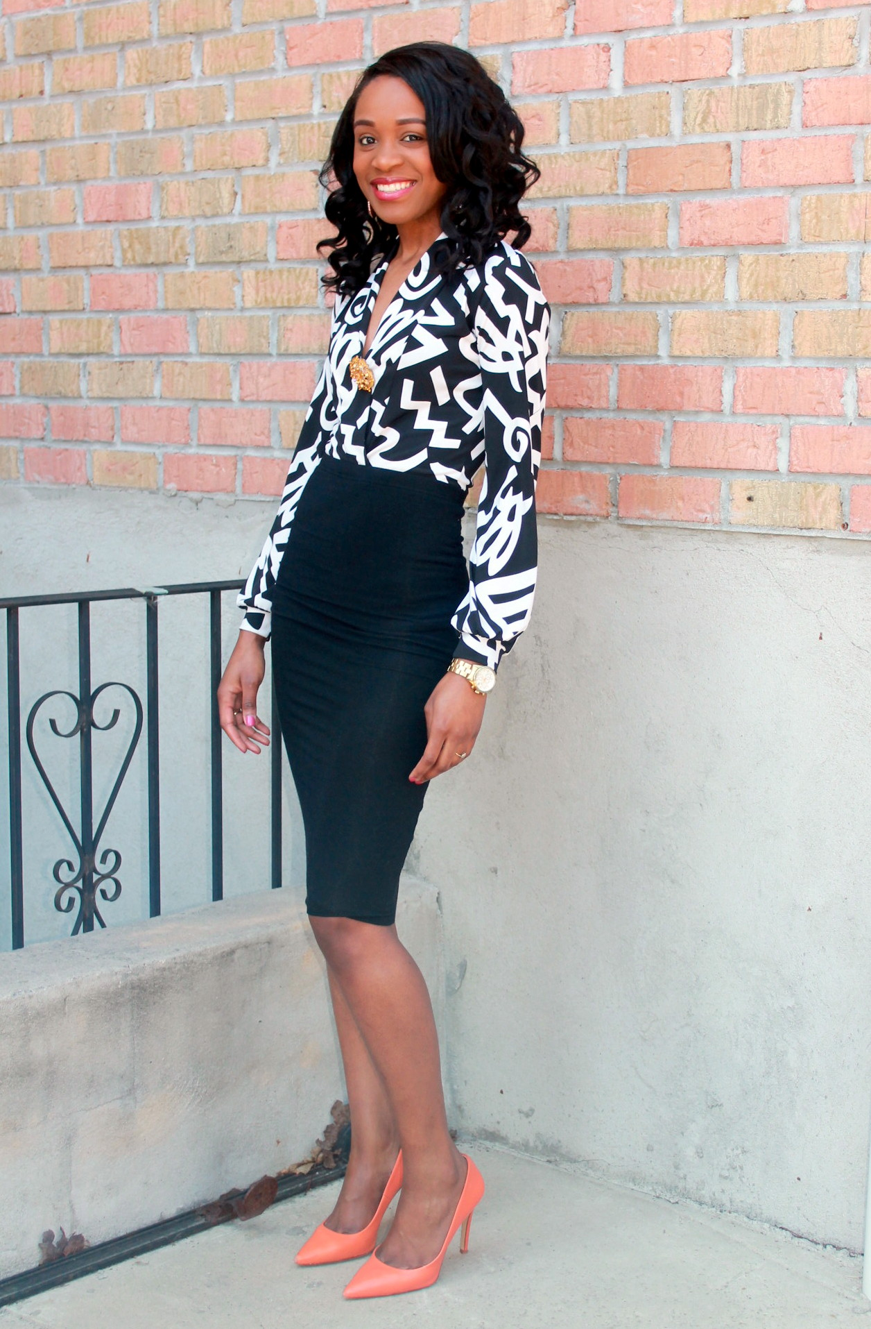 Black and white + orange pumps (7)