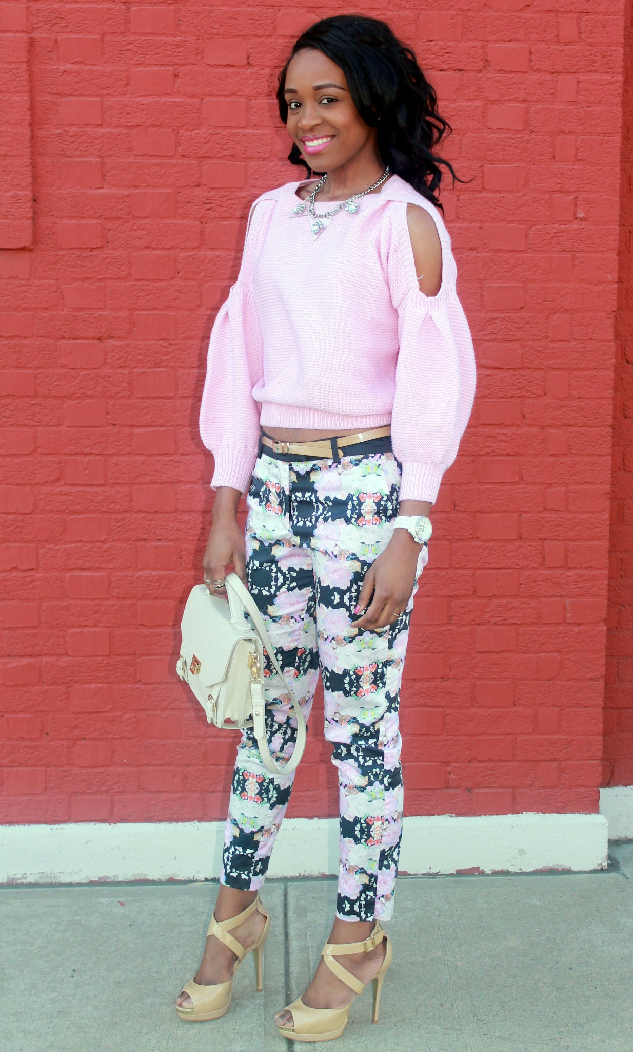 Floral trousers + cut out sweater (5)