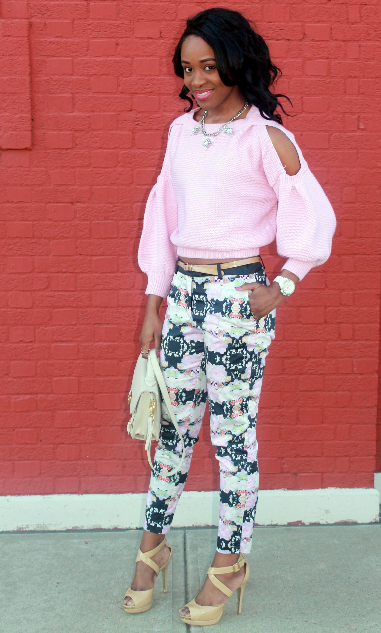 Floral trousers + cut out sweater (6)
