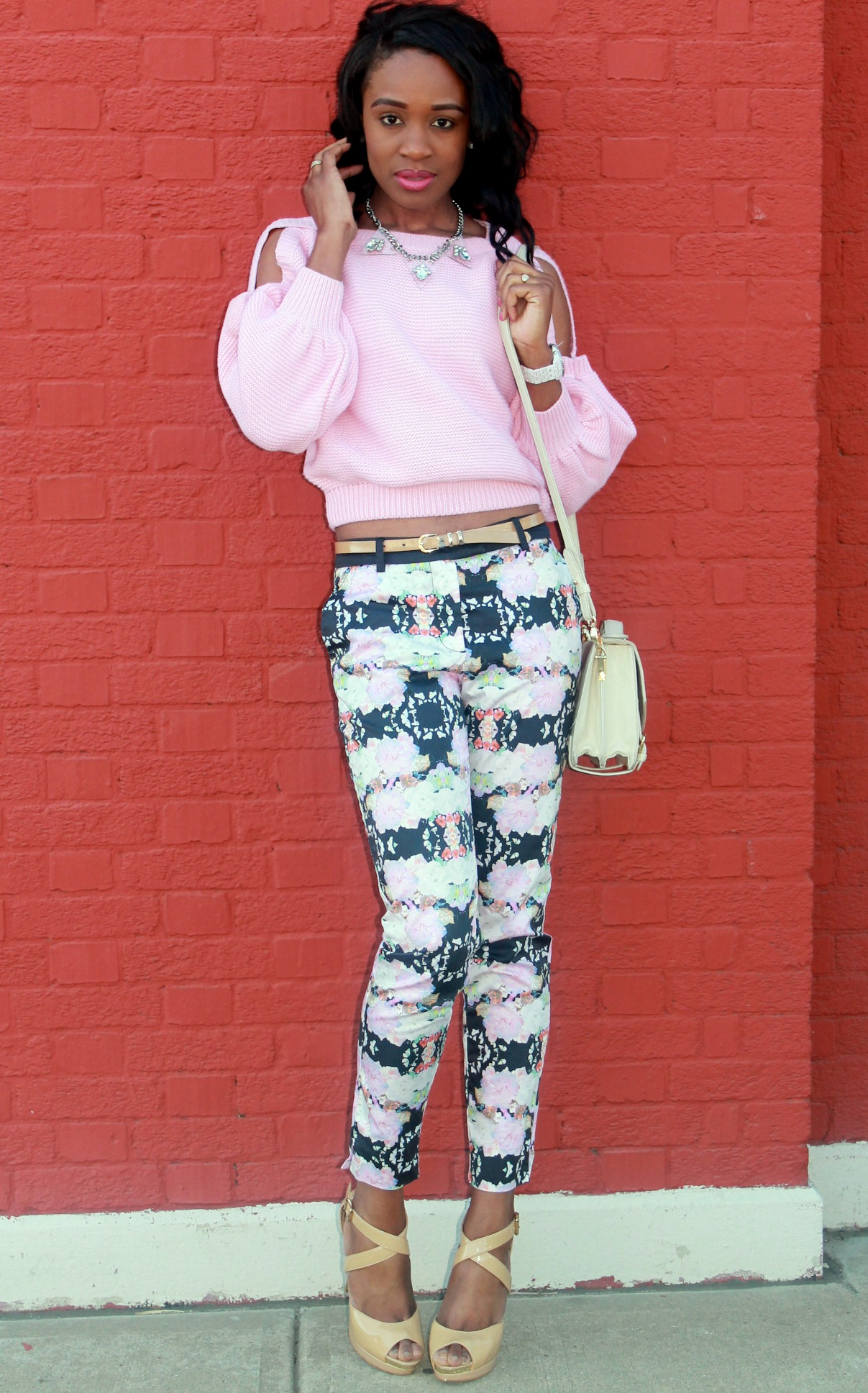 Floral trousers + cut out sweater (9)