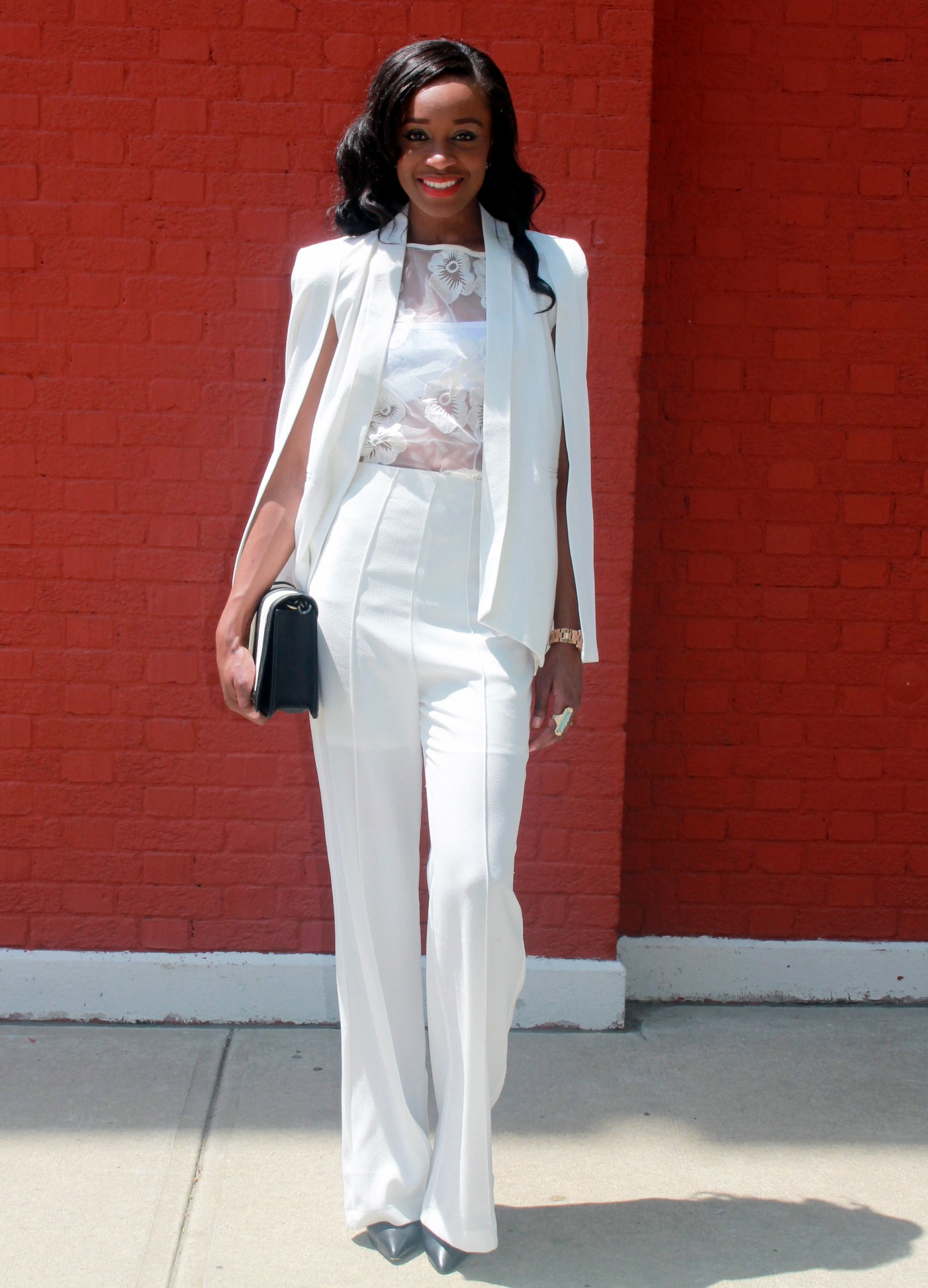 All white wide leg pants   cape blazer (14) - Versicolor Closet