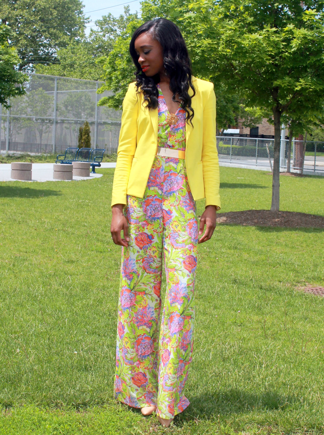 Floral jumpsuit + fitted blazer (12)