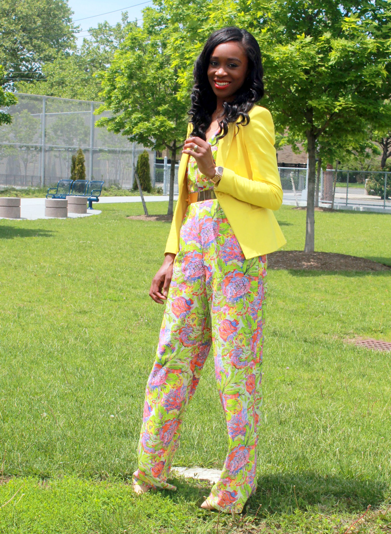 Floral jumpsuit + fitted blazer (3)