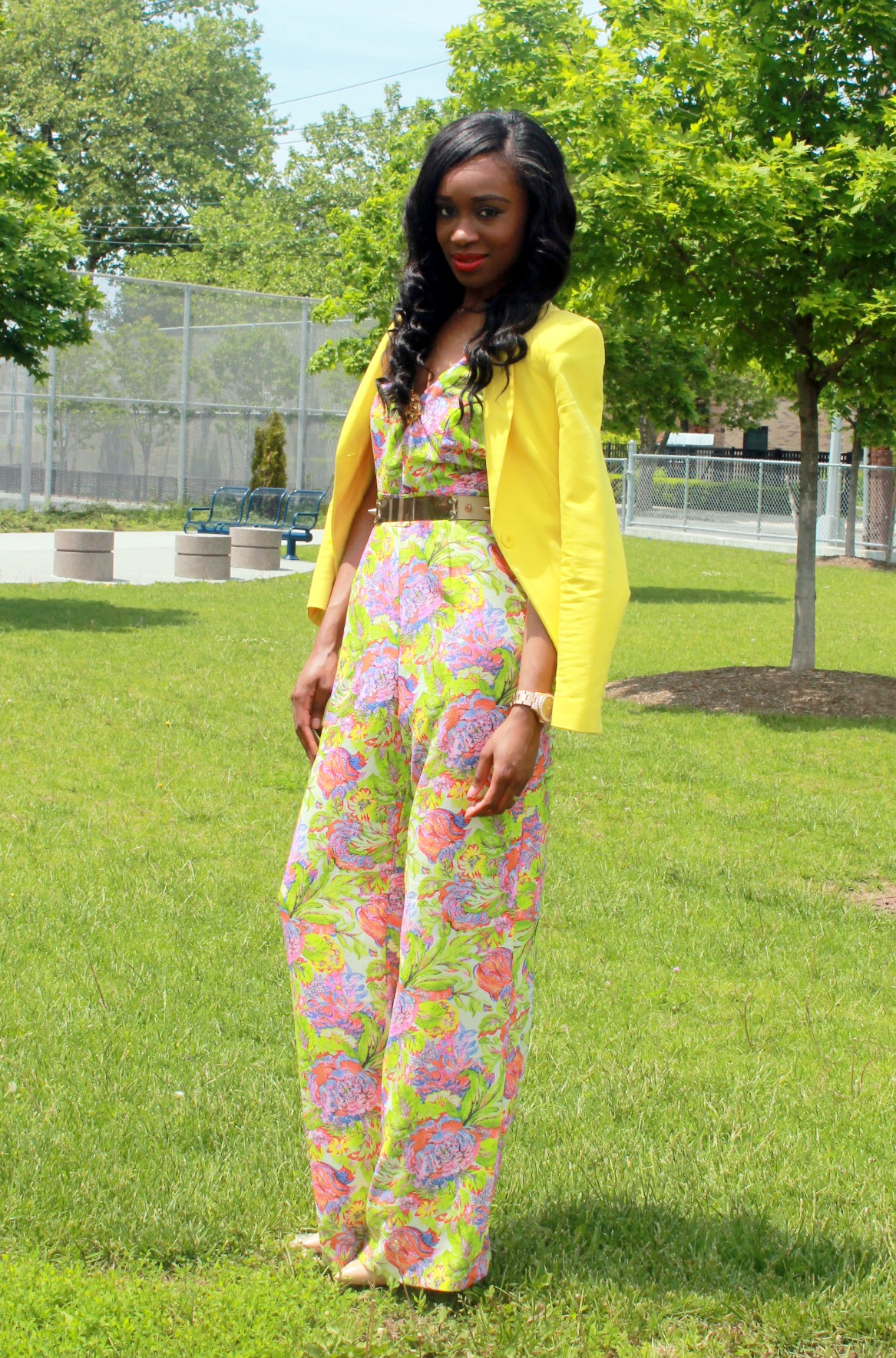 Floral jumpsuit + fitted blazer (6)
