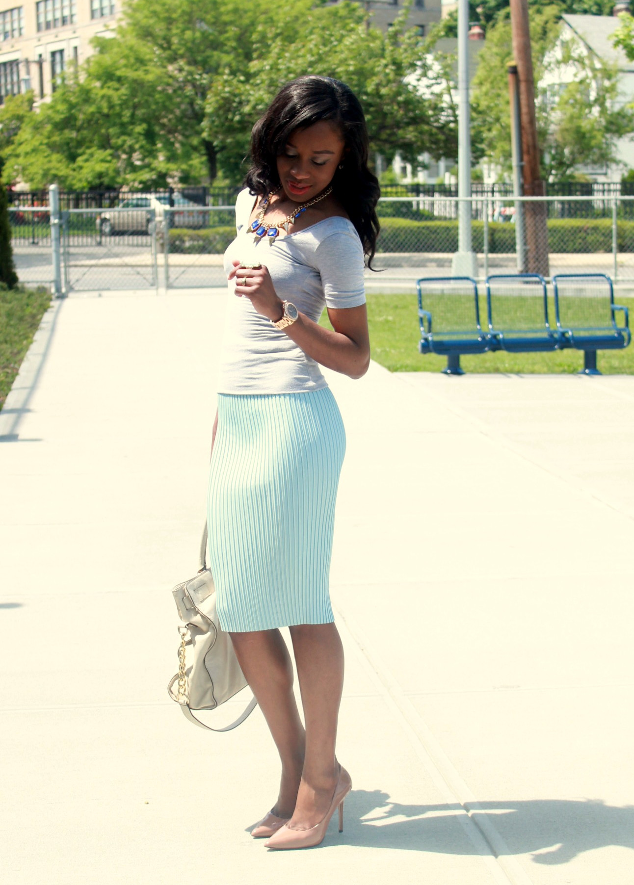 Pastel blue pleated skirt + gray open back top  (2)