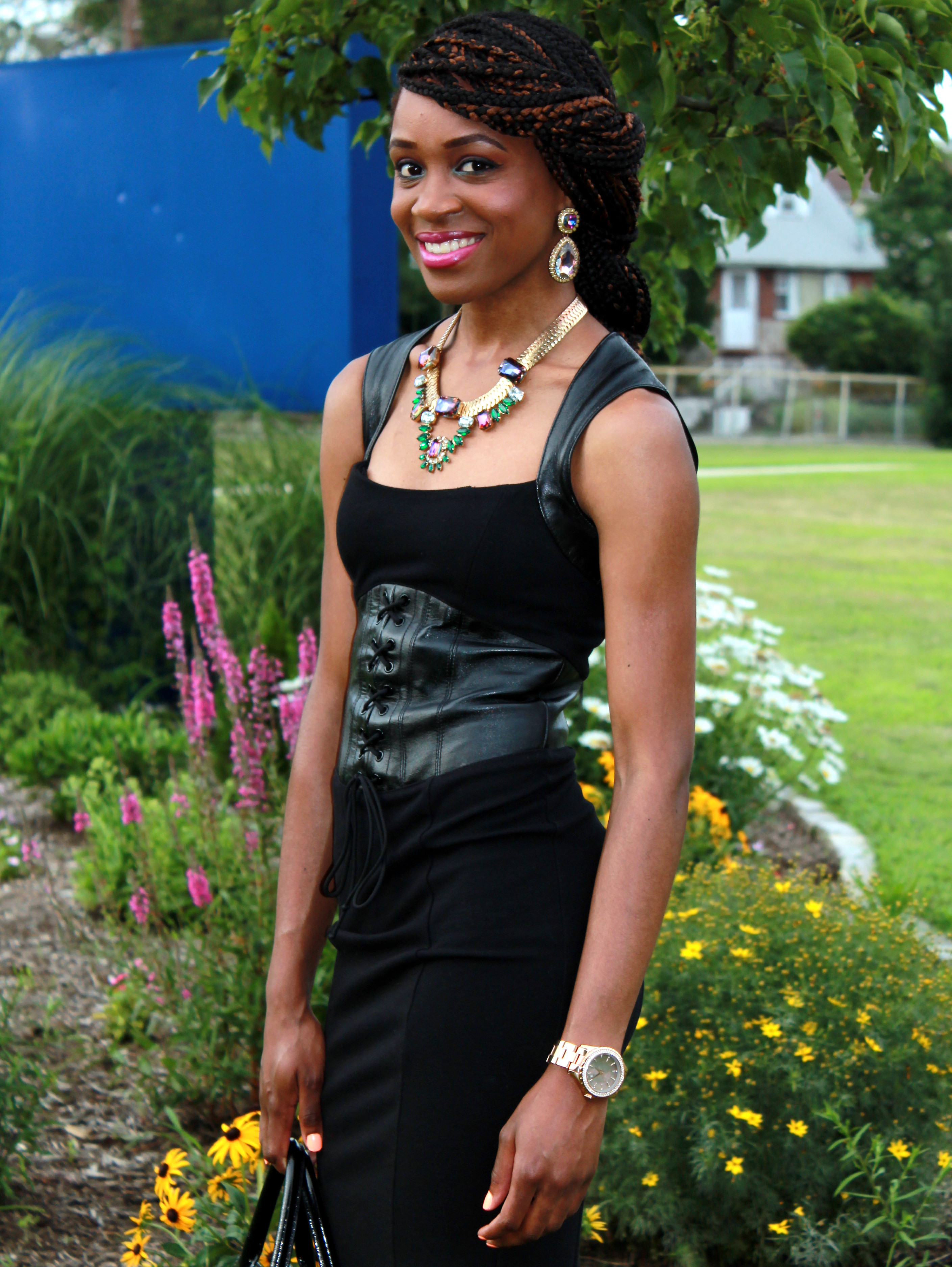 Black dress with leather details + statement necklace (14)