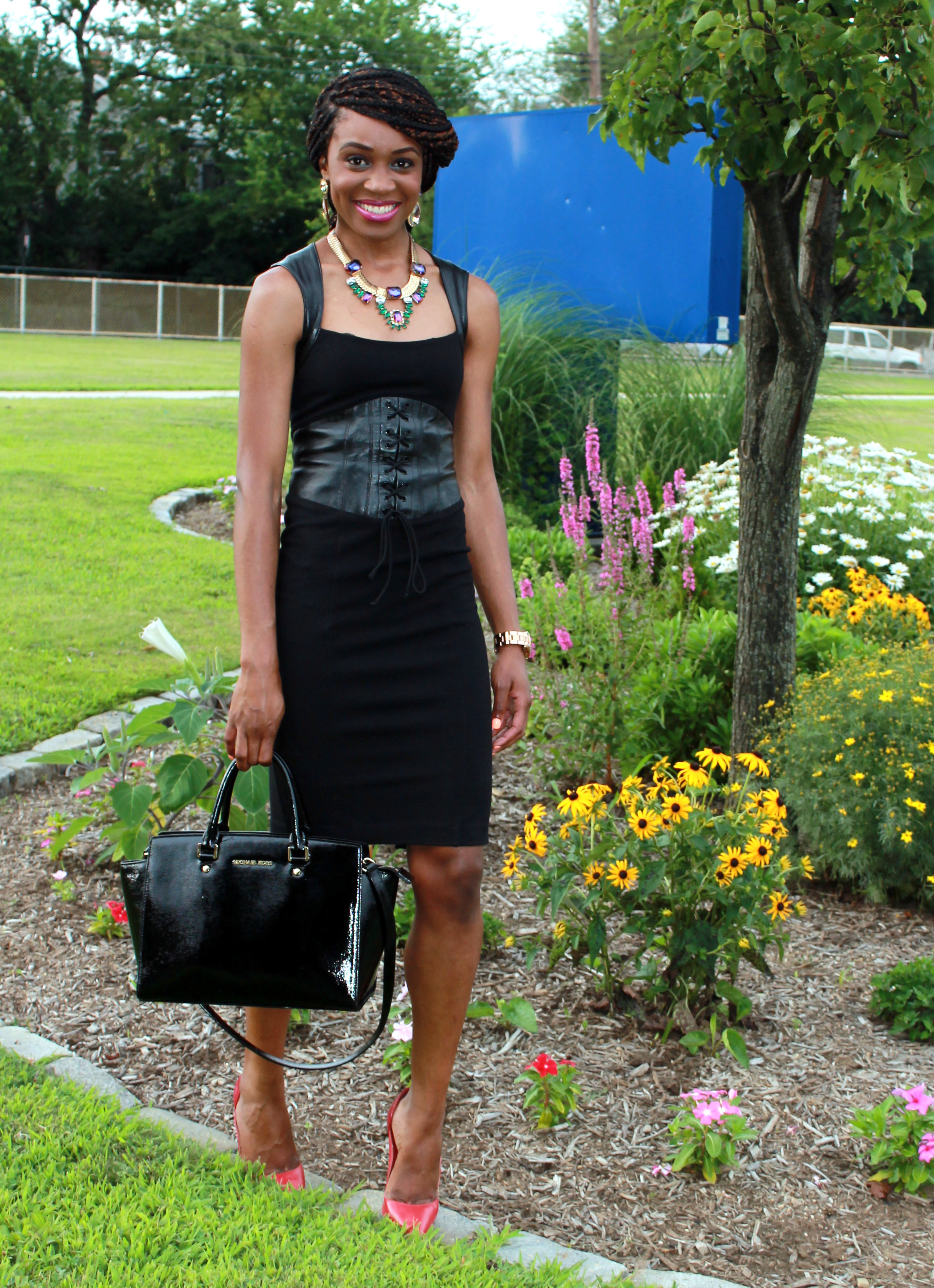 Black dress with leather details + statement necklace (2)