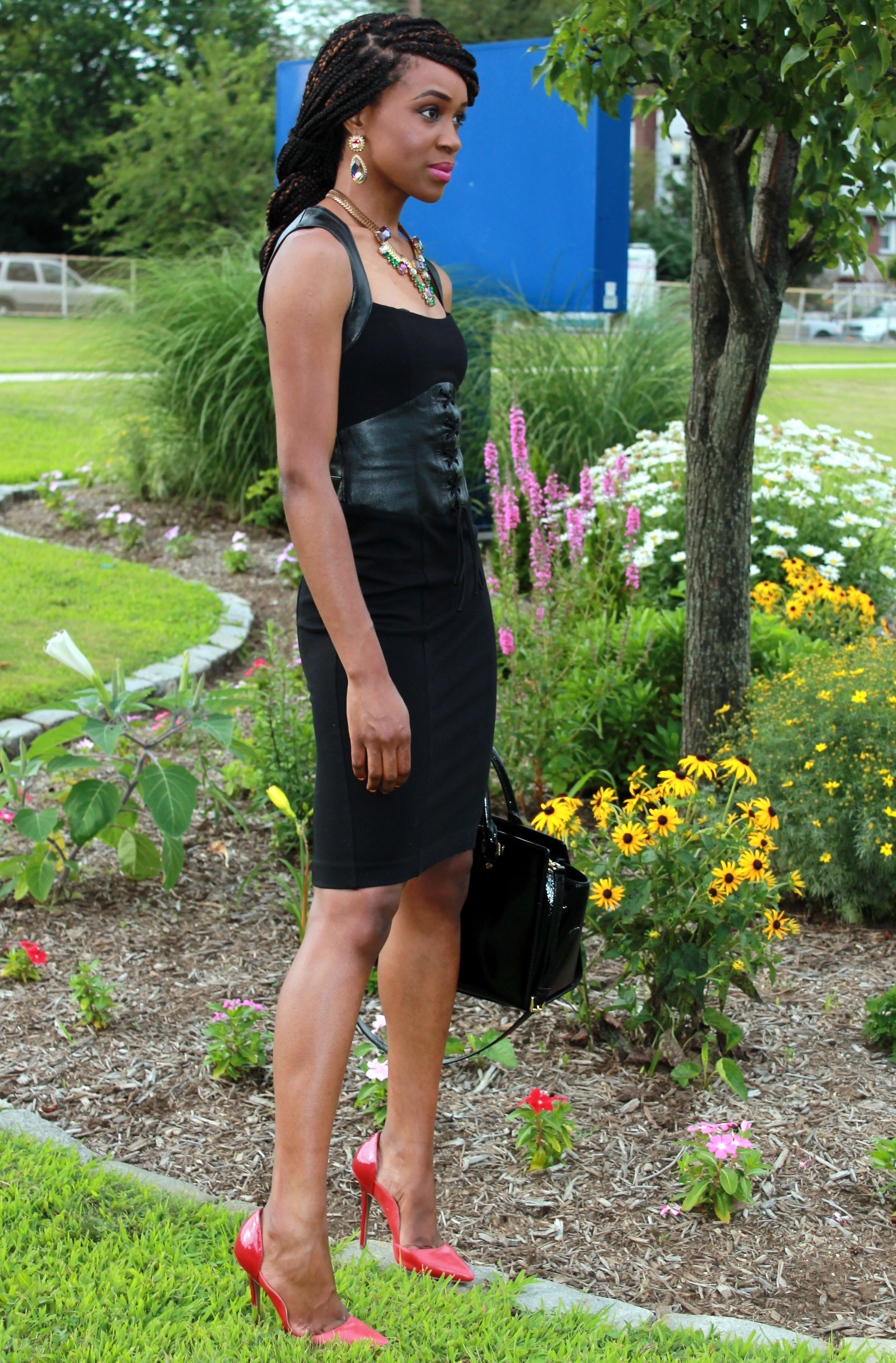 Black dress with leather details + statement necklace (3)