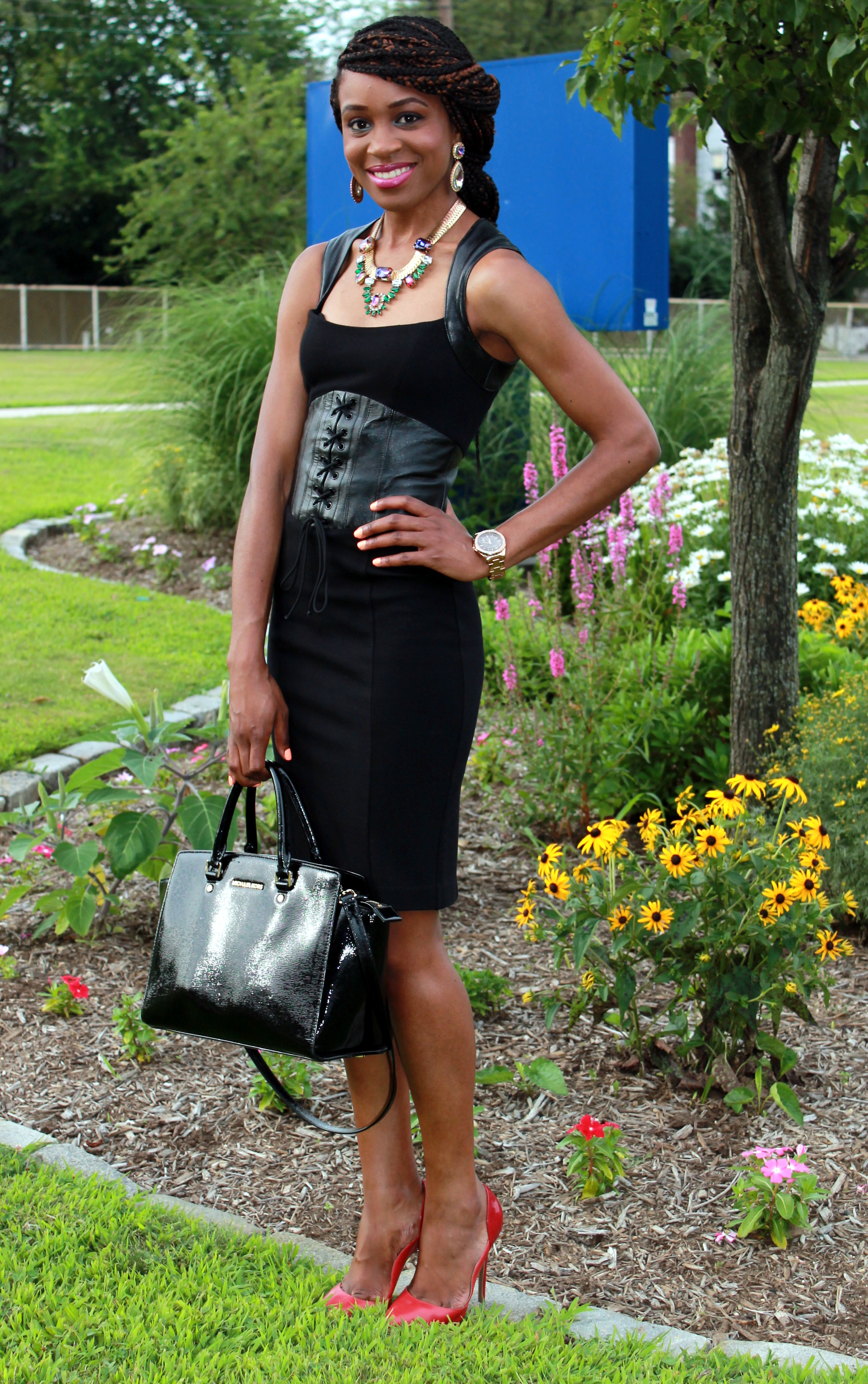 Black dress with leather details + statement necklace (5)